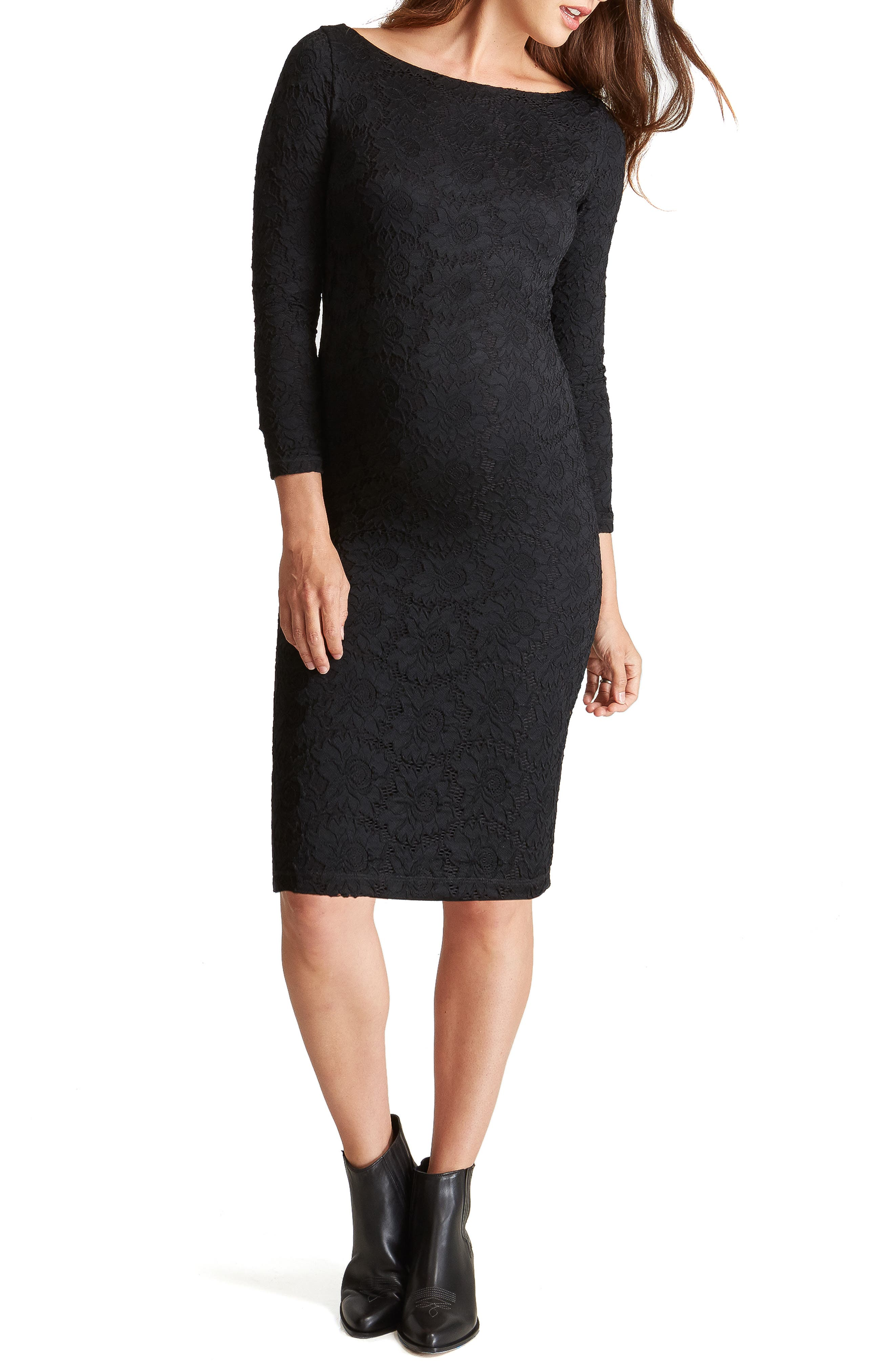 Ingrid & Isabel Floral Lace Body-Con Maternity Dress, Black