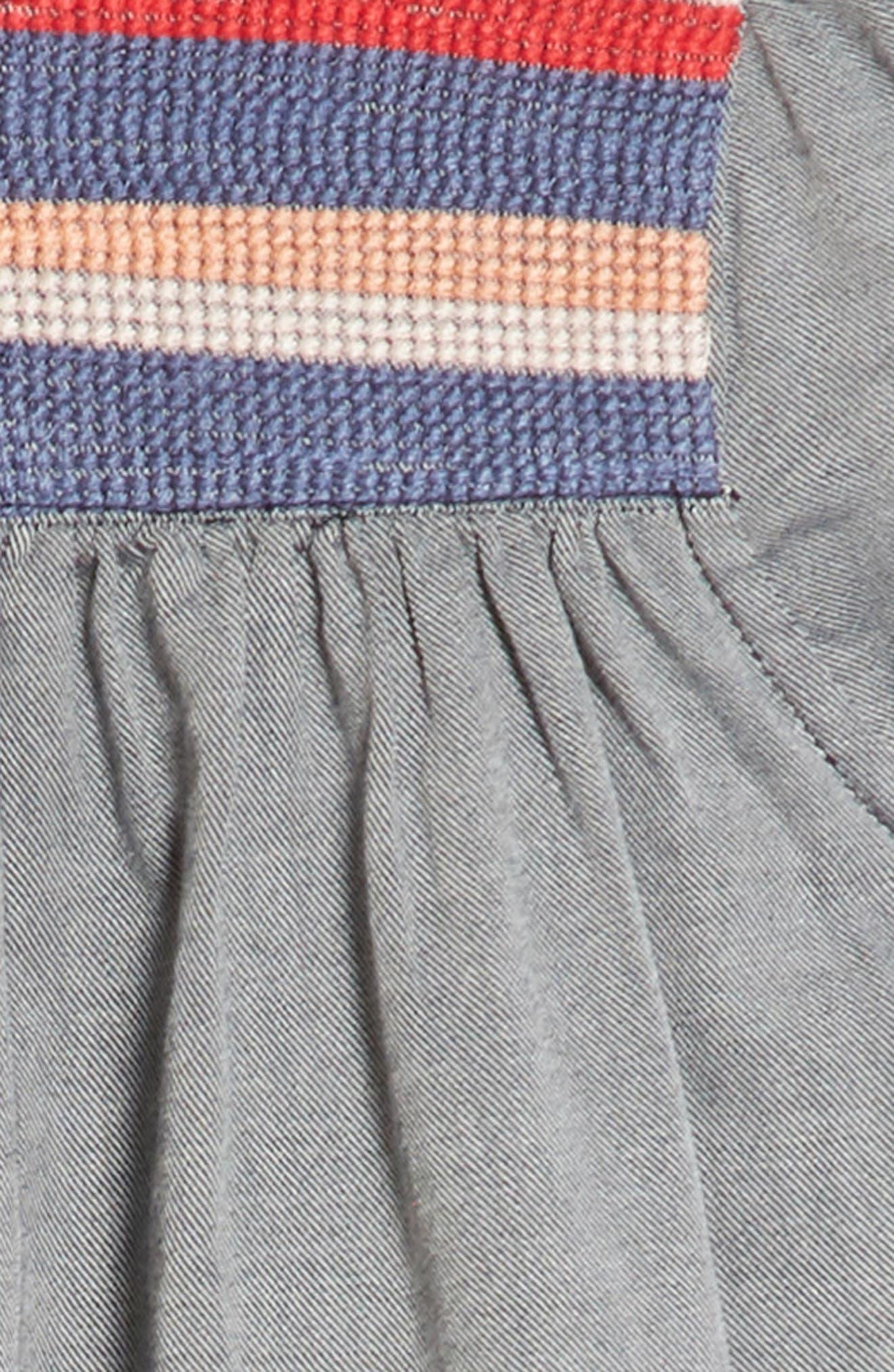 Embroidered Yoke Shift Dress,                             Alternate thumbnail 3, color,                             412
