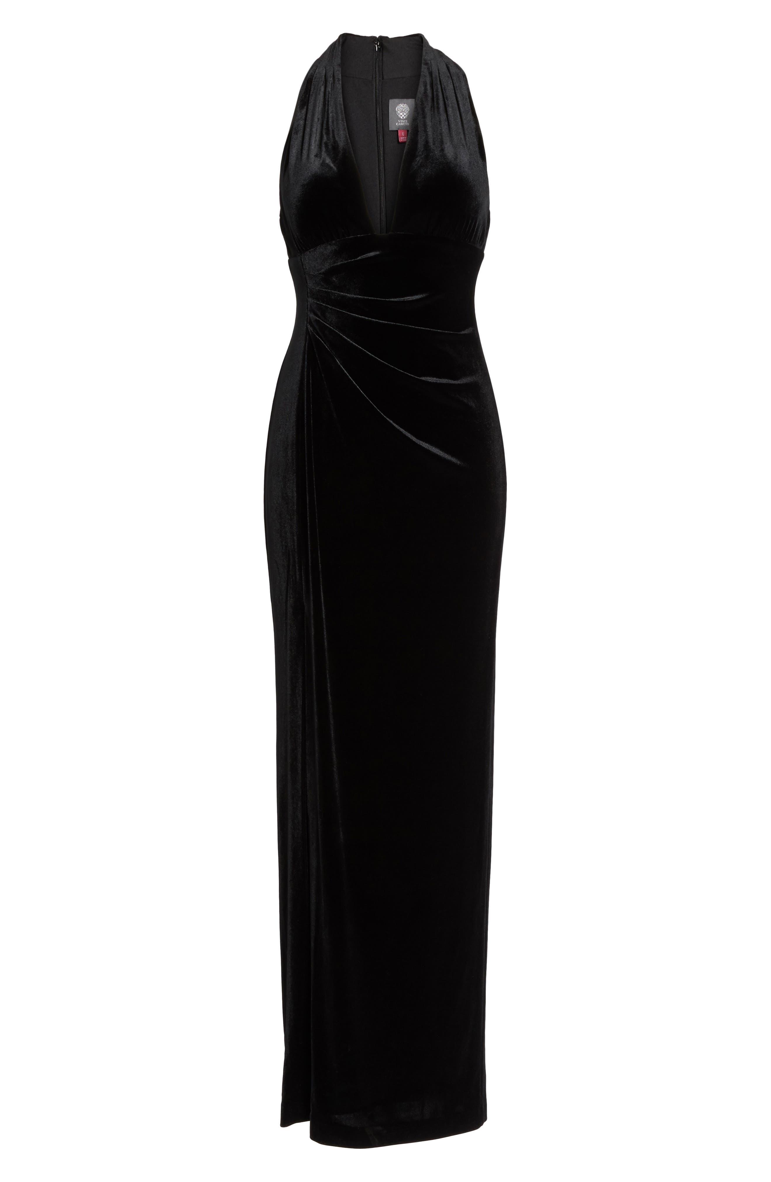 Plunging Side Drape Velvet Gown,                             Alternate thumbnail 6, color,                             001
