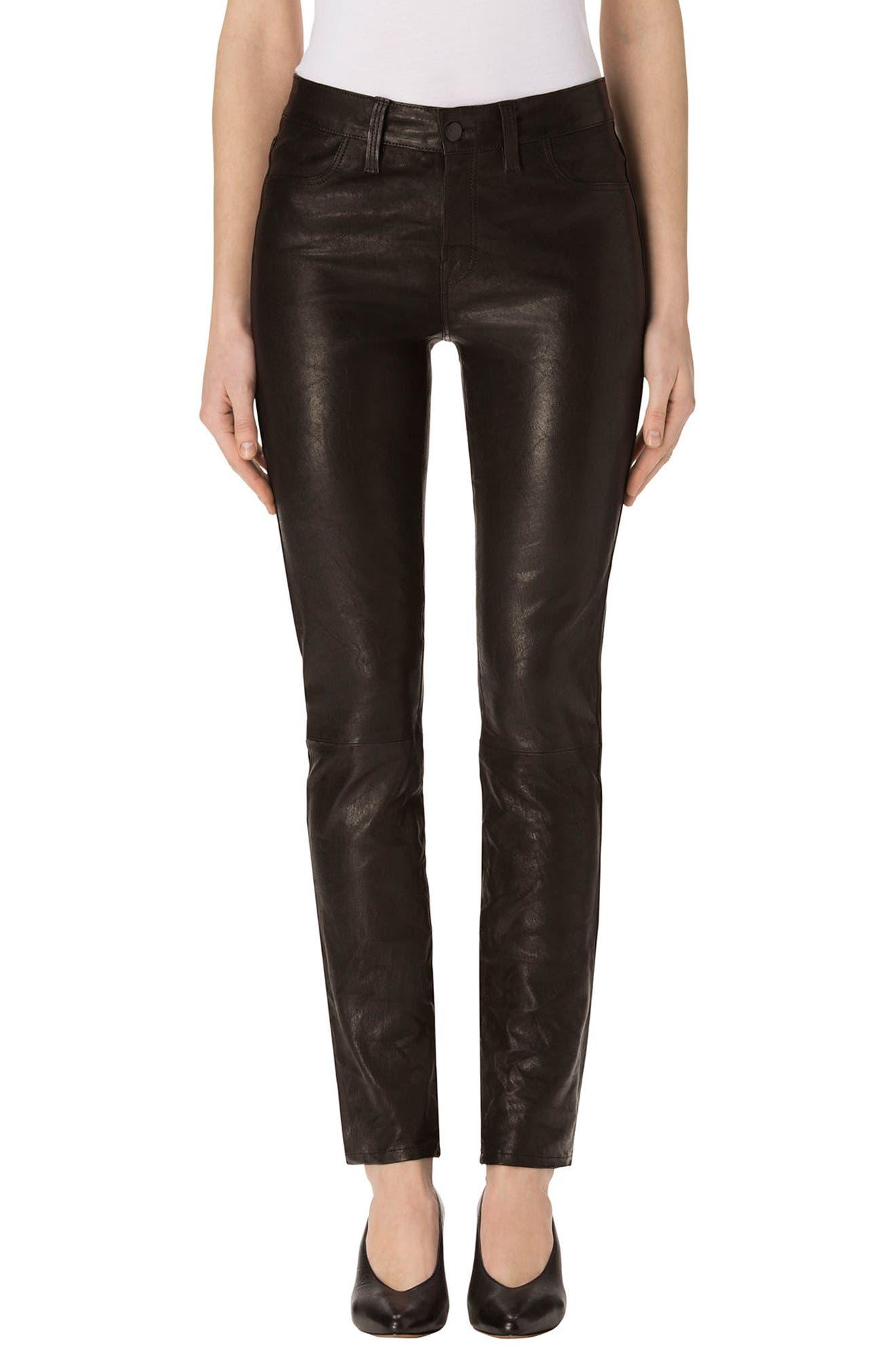 Maude Leather Cigarette Pants, Main, color, 001