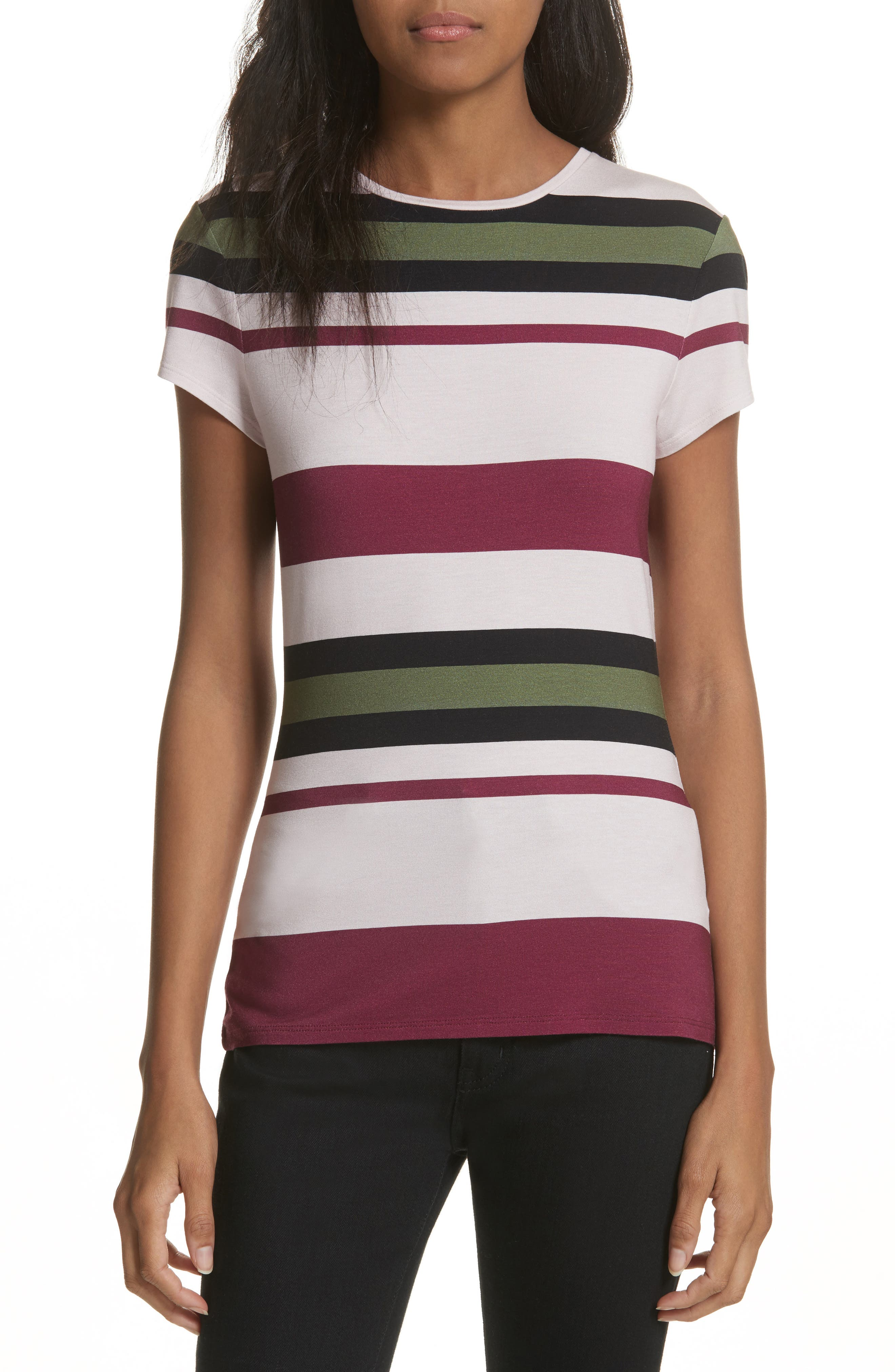 Imperial Stripe Fitted Tee,                             Main thumbnail 1, color,