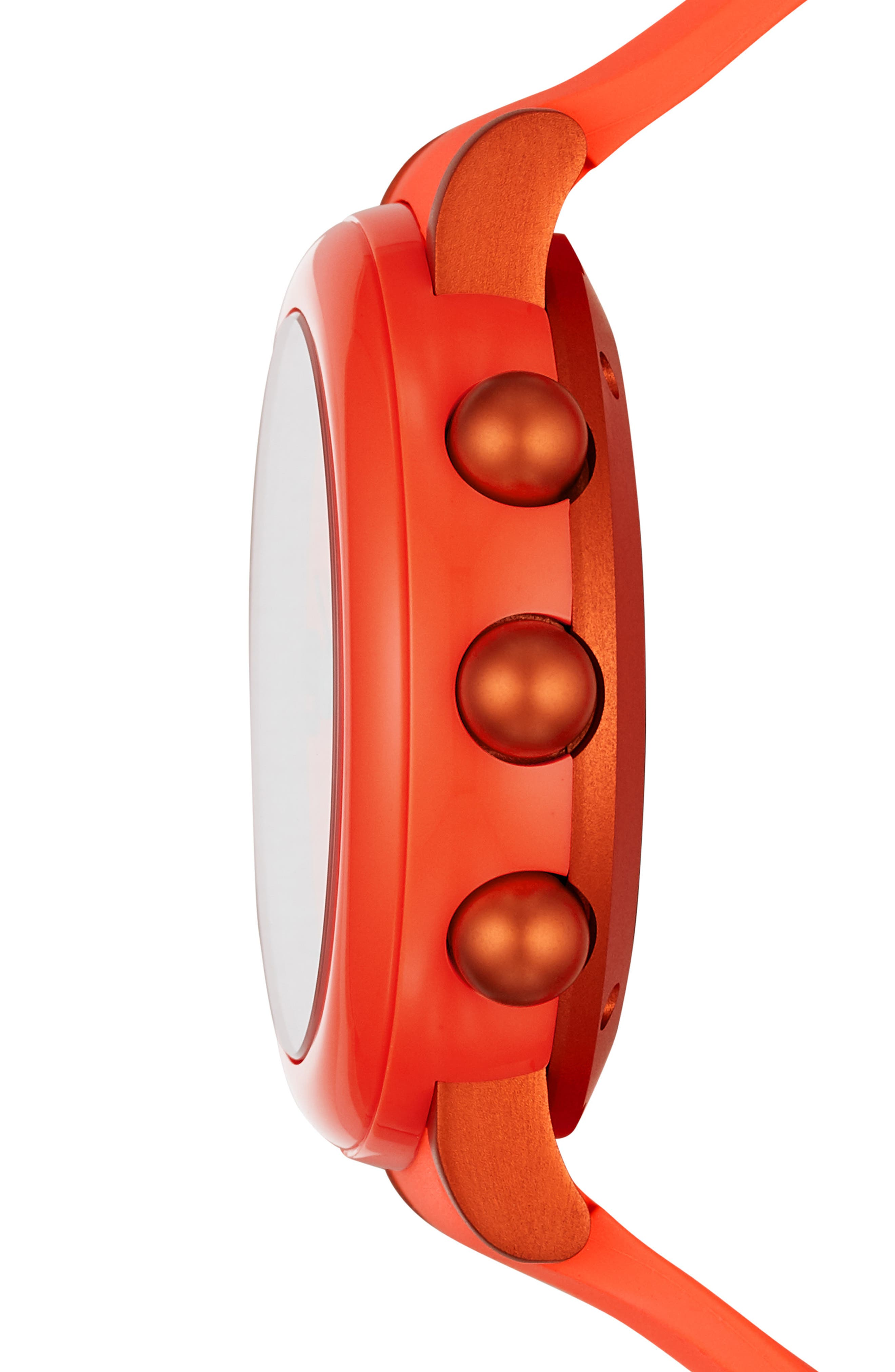 Riley Hybrid Rubber Strap Smart Watch, 44mm,                             Alternate thumbnail 3, color,                             CORAL