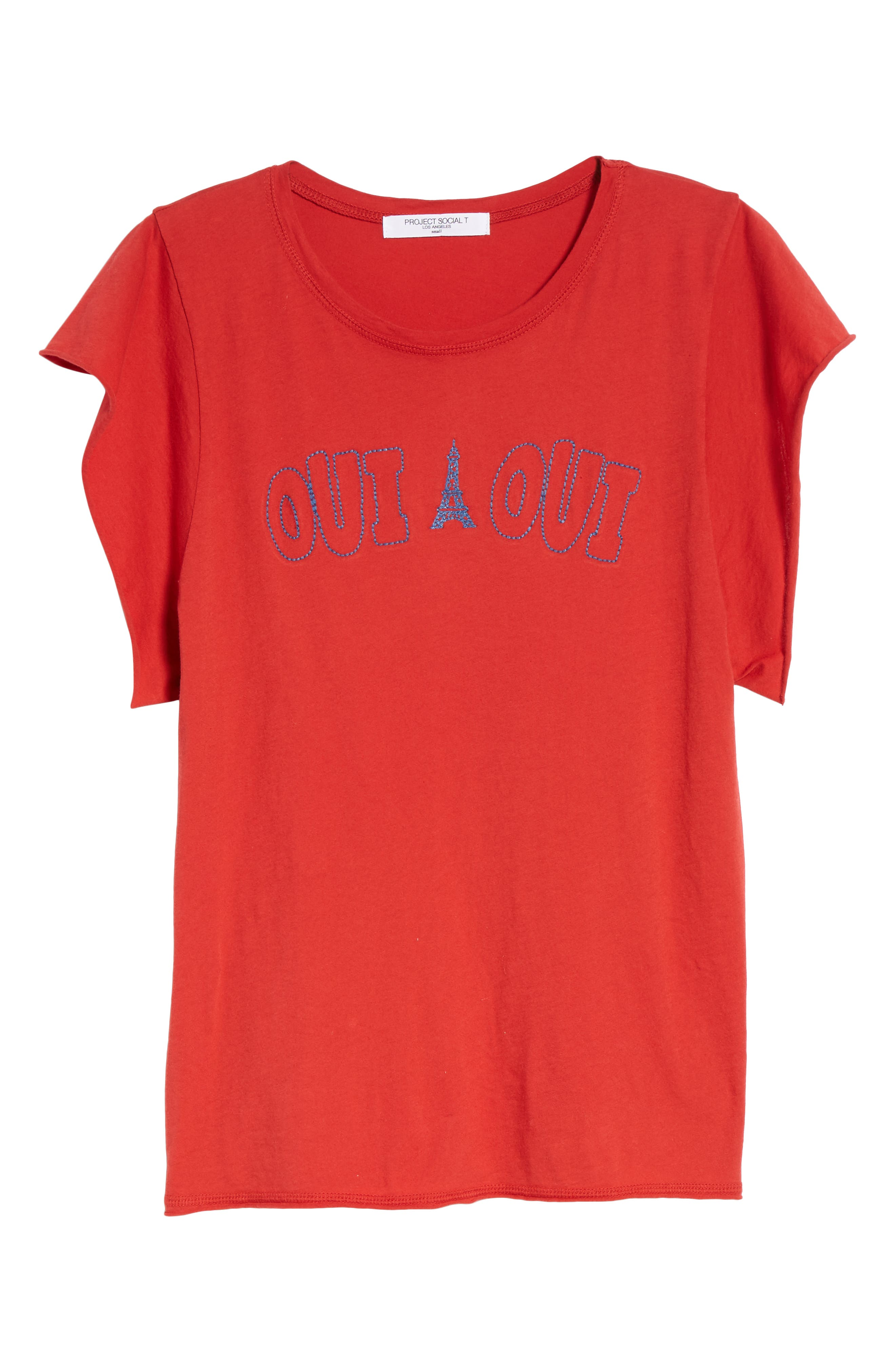Oui Oui Embroidered Tee,                             Alternate thumbnail 7, color,                             600