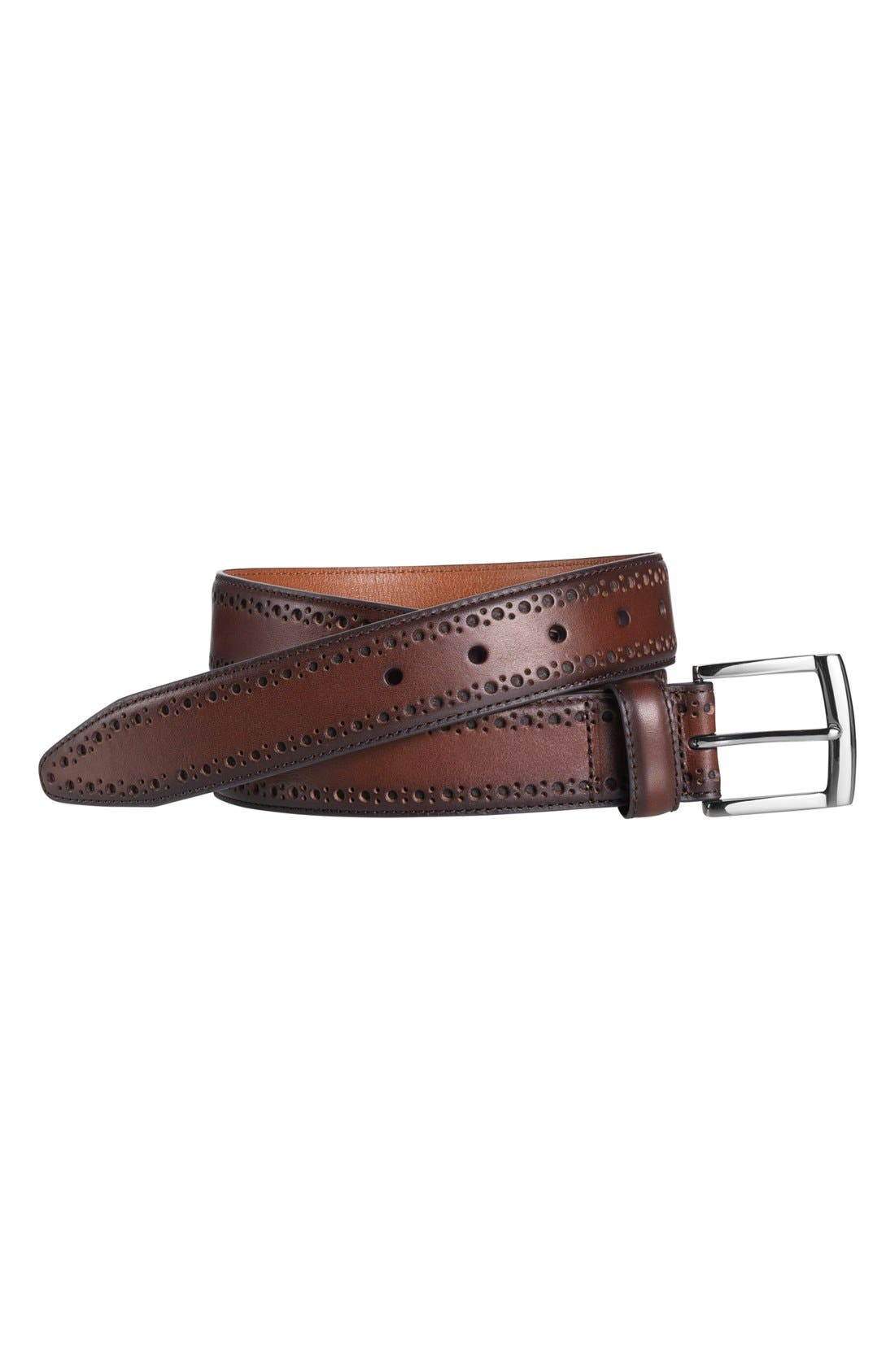 Perforated Leather Belt,                             Alternate thumbnail 2, color,                             MAHOGANY