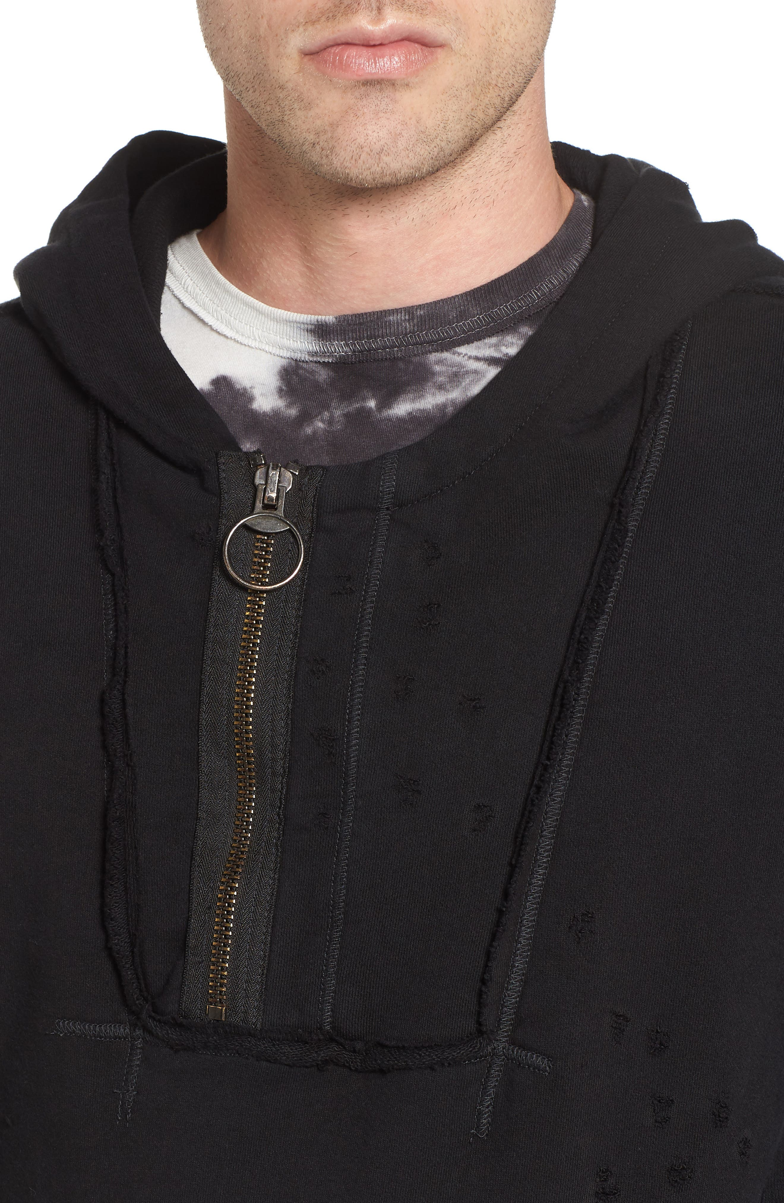 Distressed Pullover Hoodie,                             Alternate thumbnail 4, color,                             001