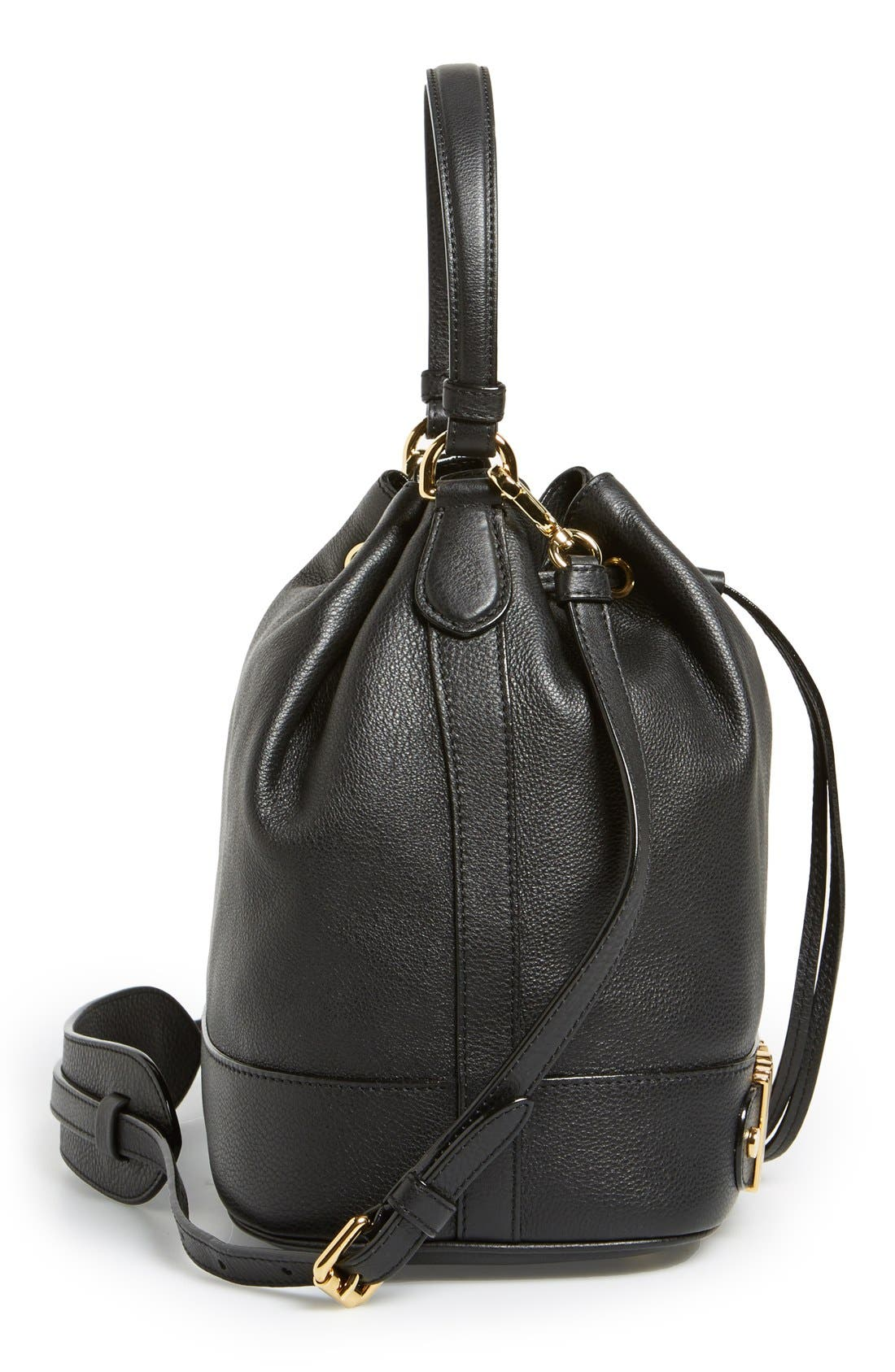 'Letters' Leather Bucket Bag,                             Alternate thumbnail 5, color,                             001