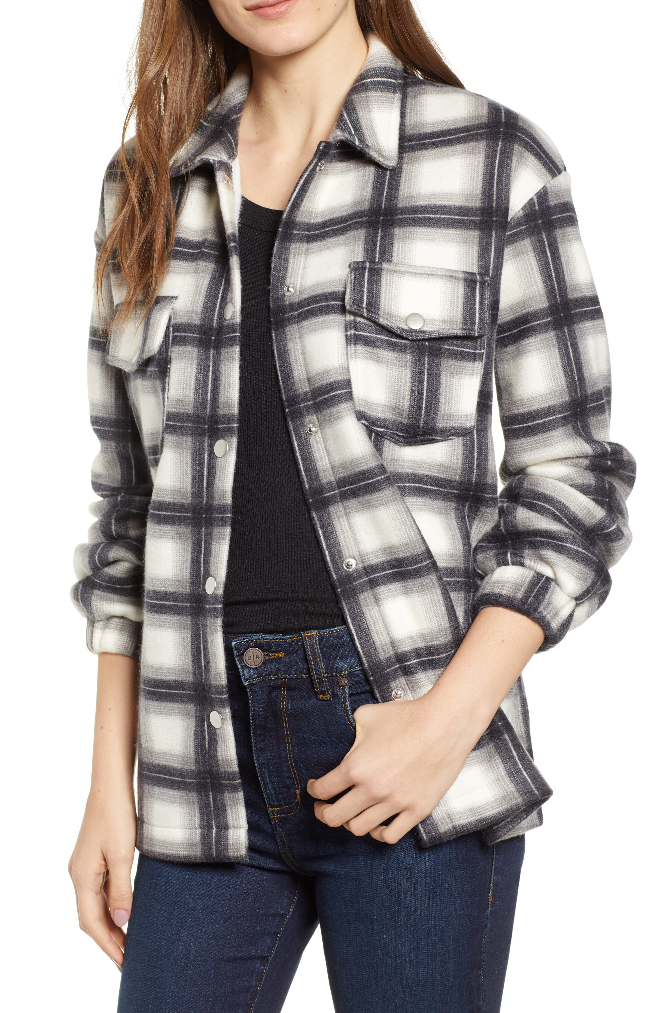 LOVE, FIRE Plaid Shirt Jacket in Grey
