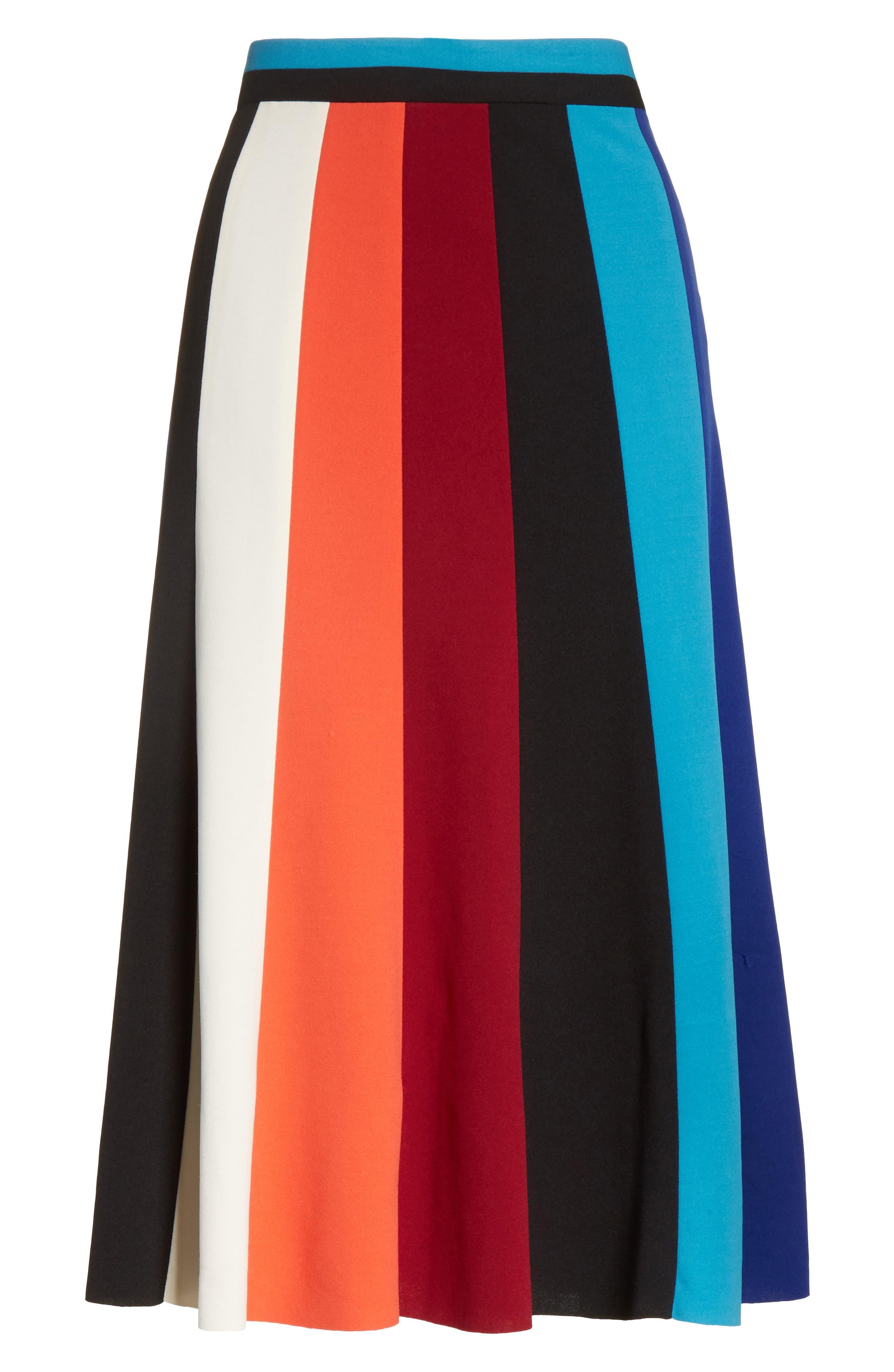 Colorblock Stripe Flared Skirt,                             Alternate thumbnail 6, color,                             498