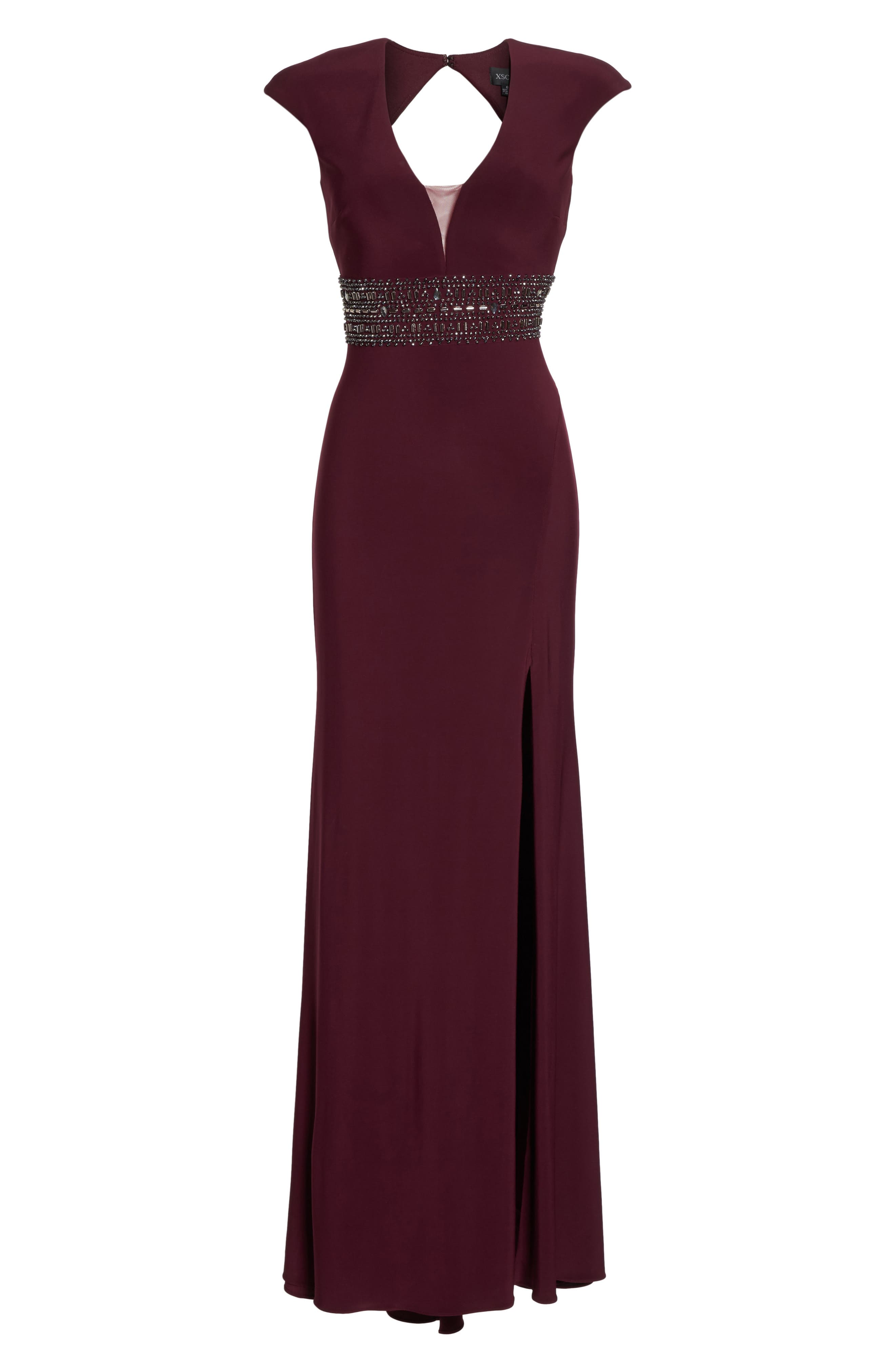 Bead Embellished Cap Sleeve Gown,                             Alternate thumbnail 6, color,                             930