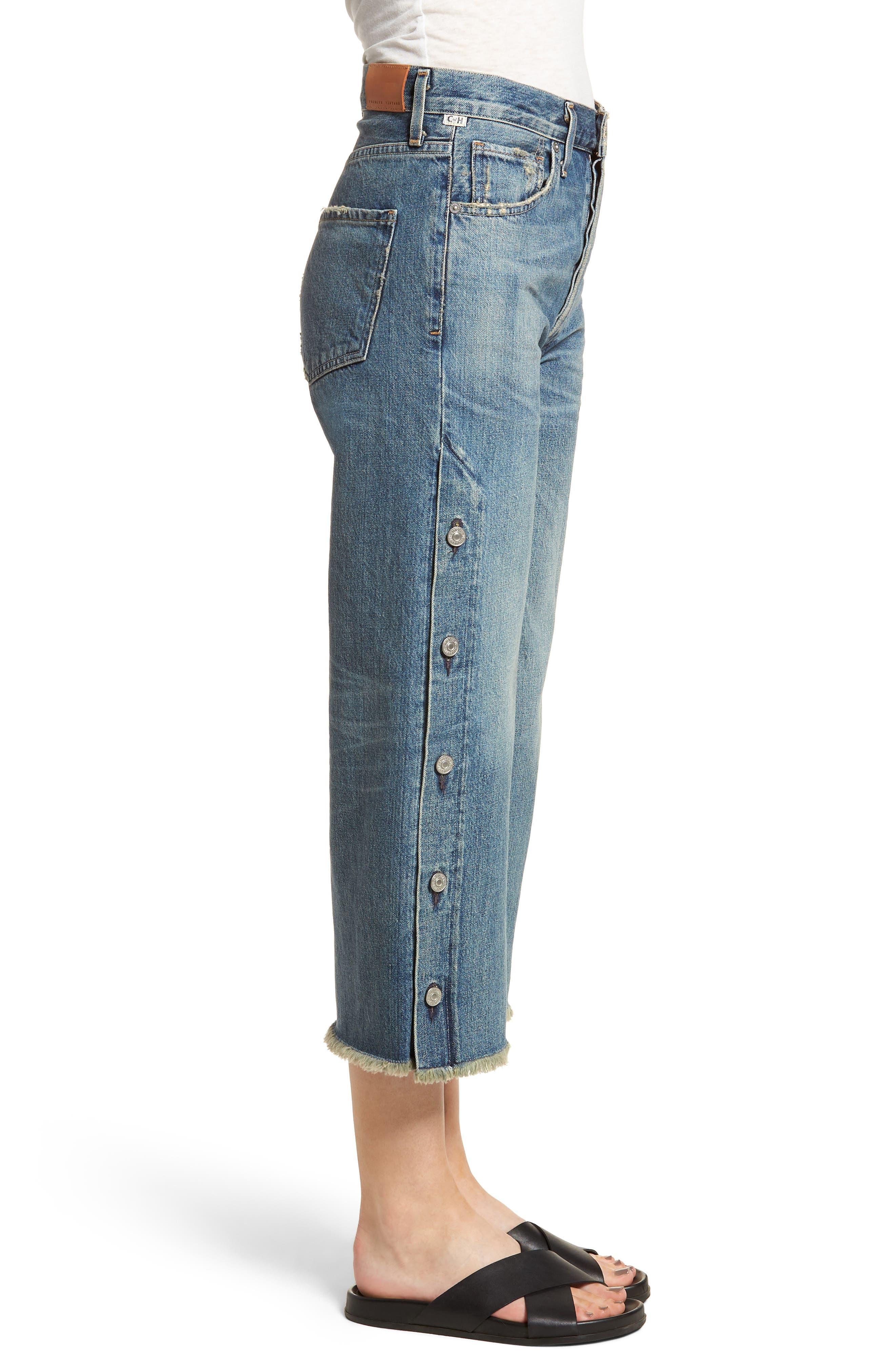 Emma High Waist Crop Wide Leg Jeans,                             Alternate thumbnail 3, color,                             428