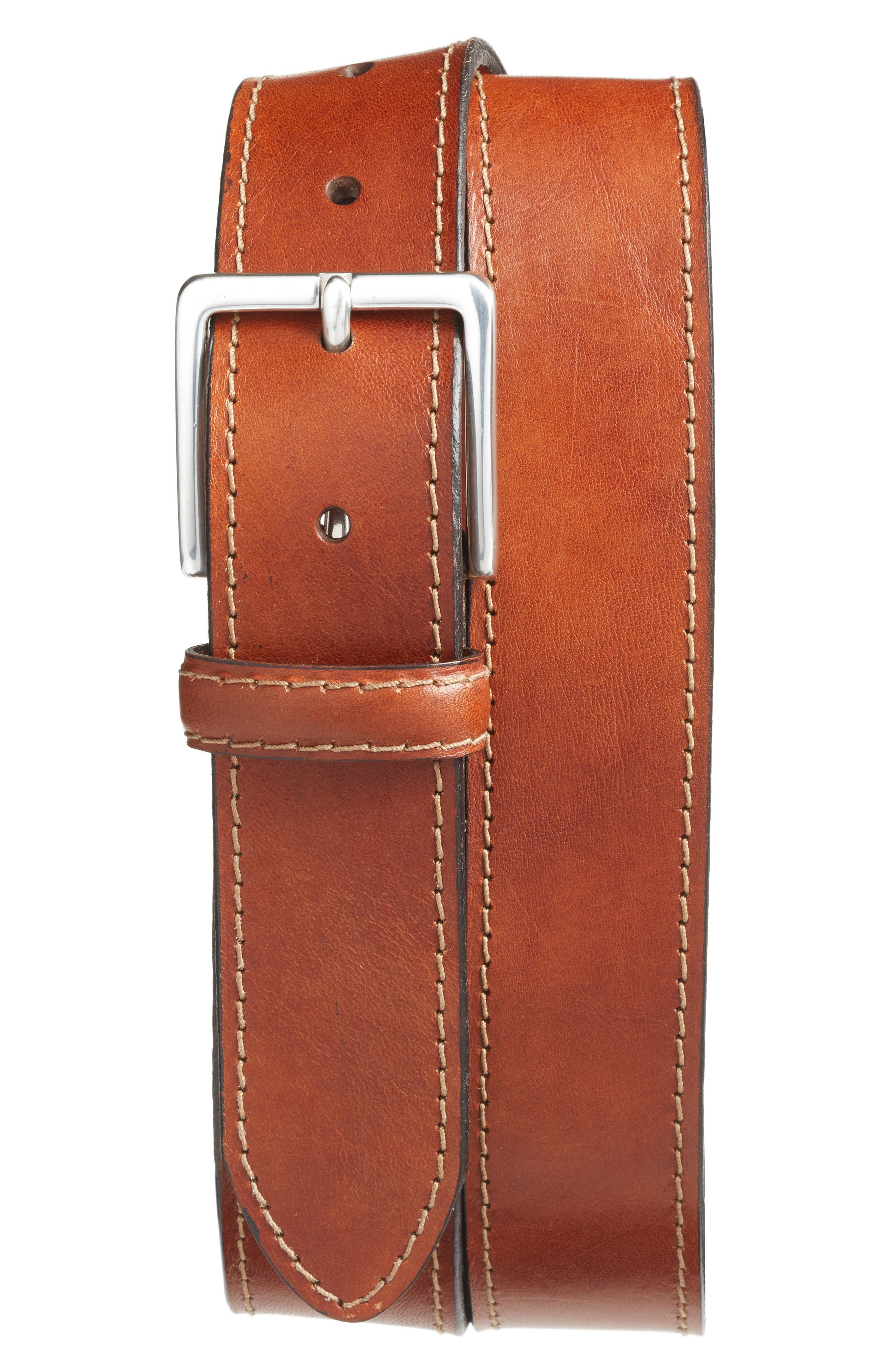 The Franco Leather Belt,                             Main thumbnail 1, color,                             AMBER