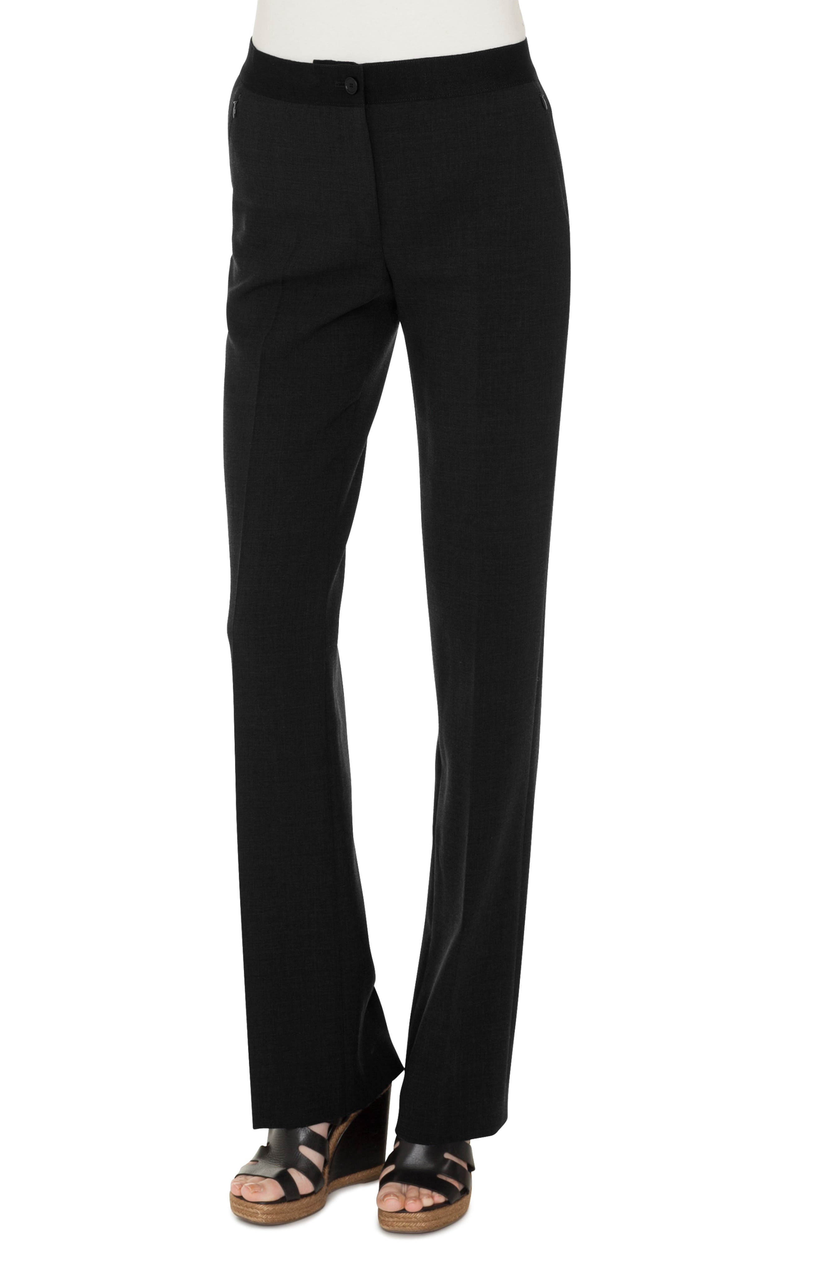 Double Face Stretch Wool Trousers, Main, color, BLACK