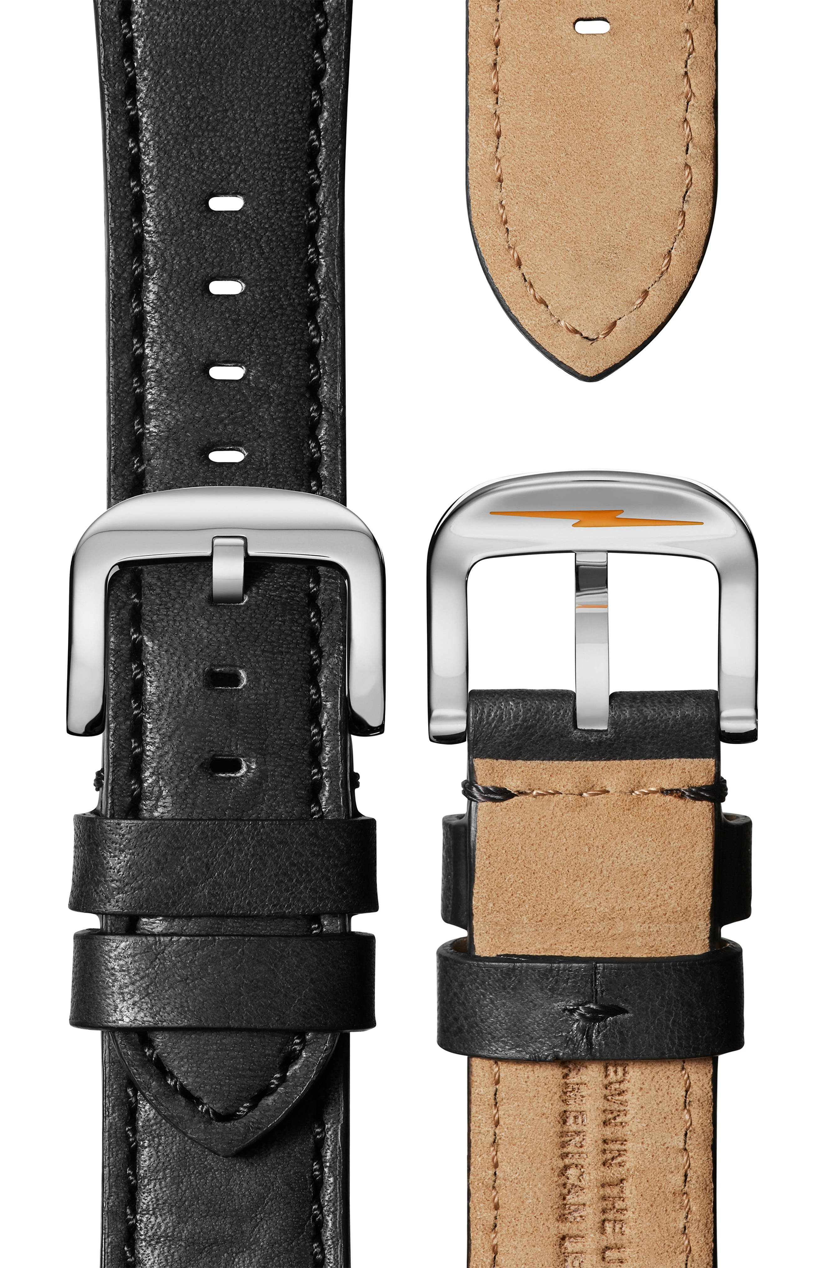 The Runwell Leather Strap Watch, 40mm,                             Alternate thumbnail 4, color,                             BLACK/ PETOSKEY STONE/ SILVER