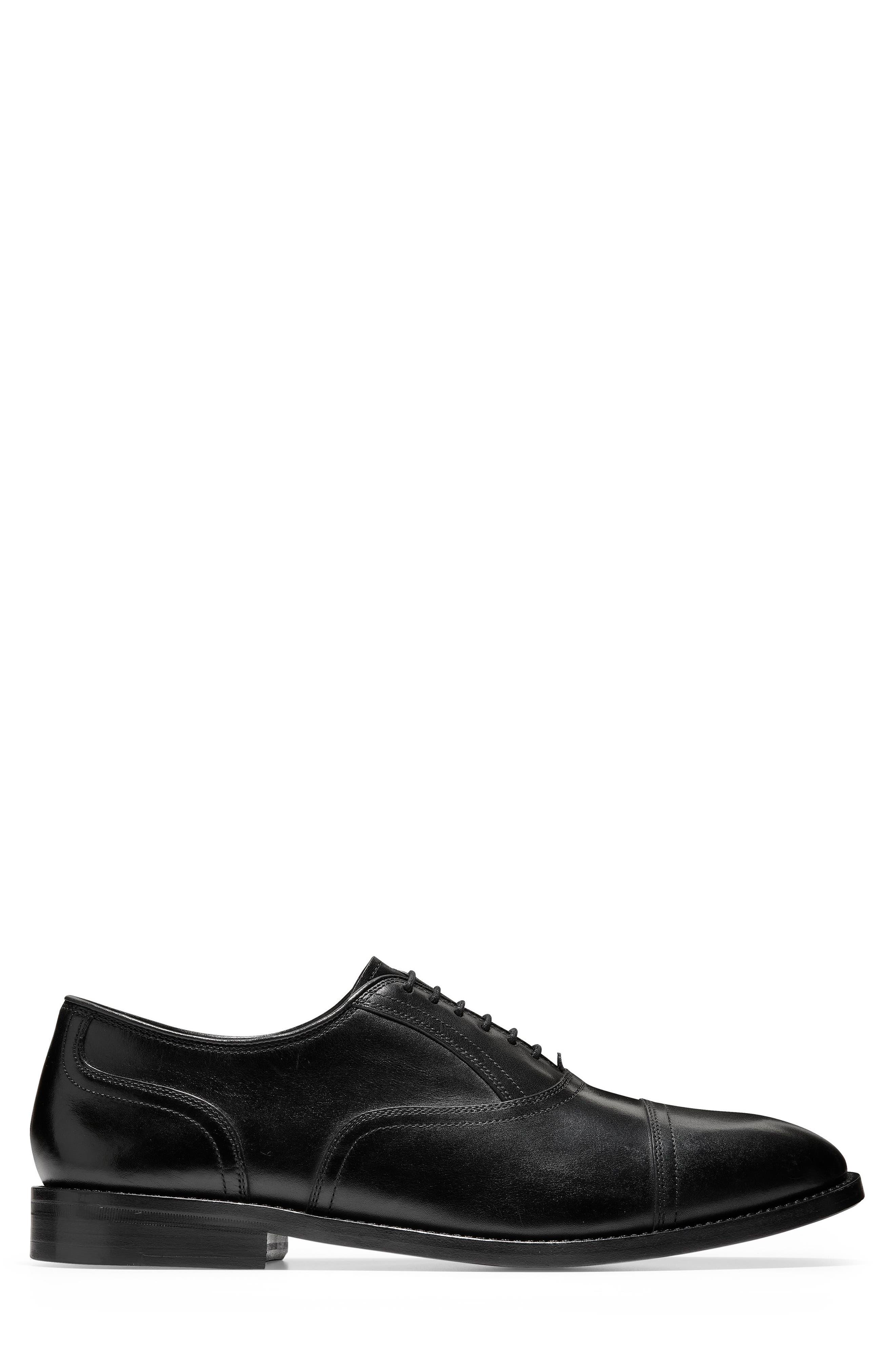 American Classics Kneeland Cap Toe Oxford,                             Alternate thumbnail 3, color,                             BLACK LEATHER