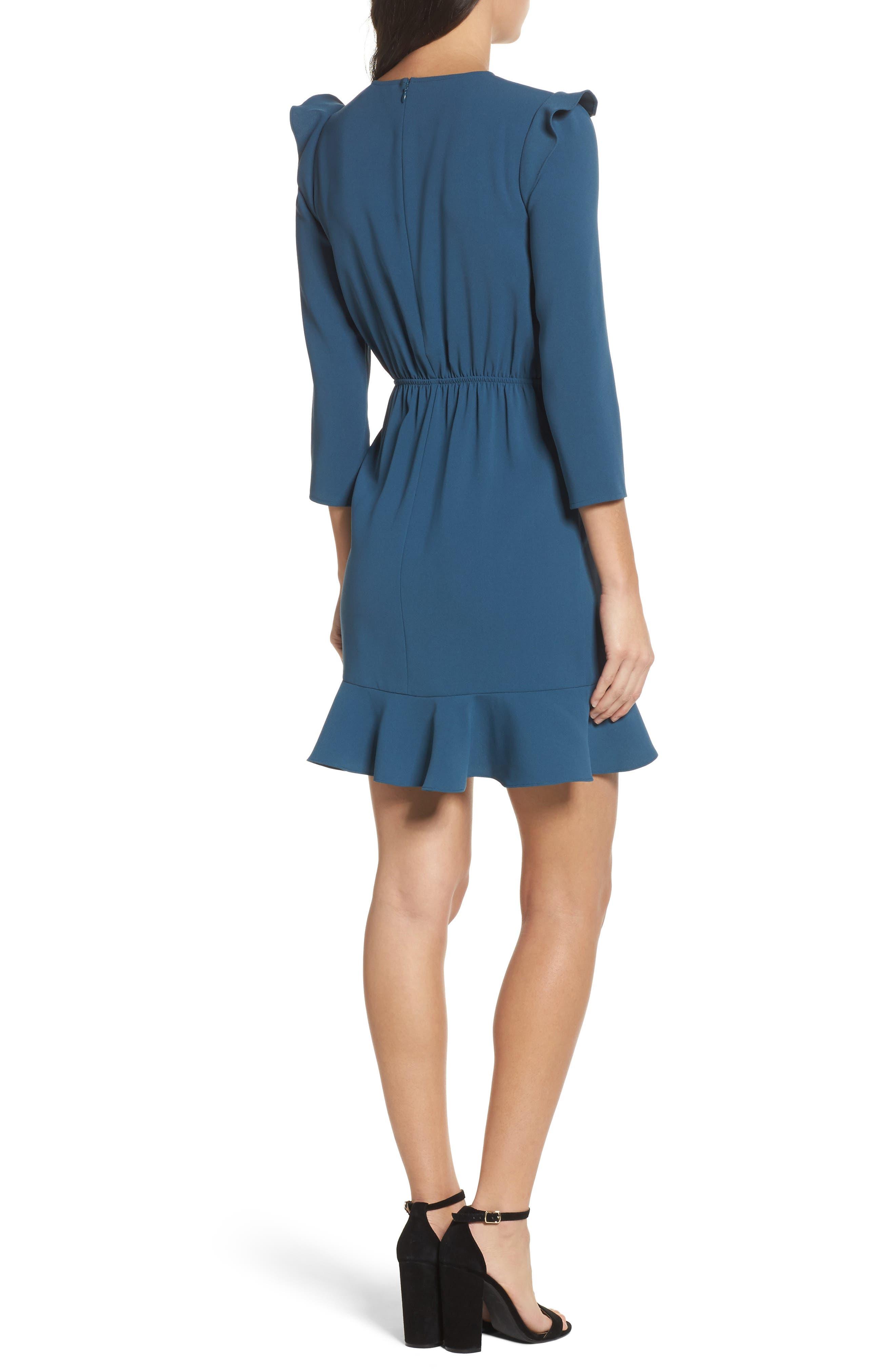 St Germain Ruffle Fit & Flare Dress,                             Alternate thumbnail 4, color,