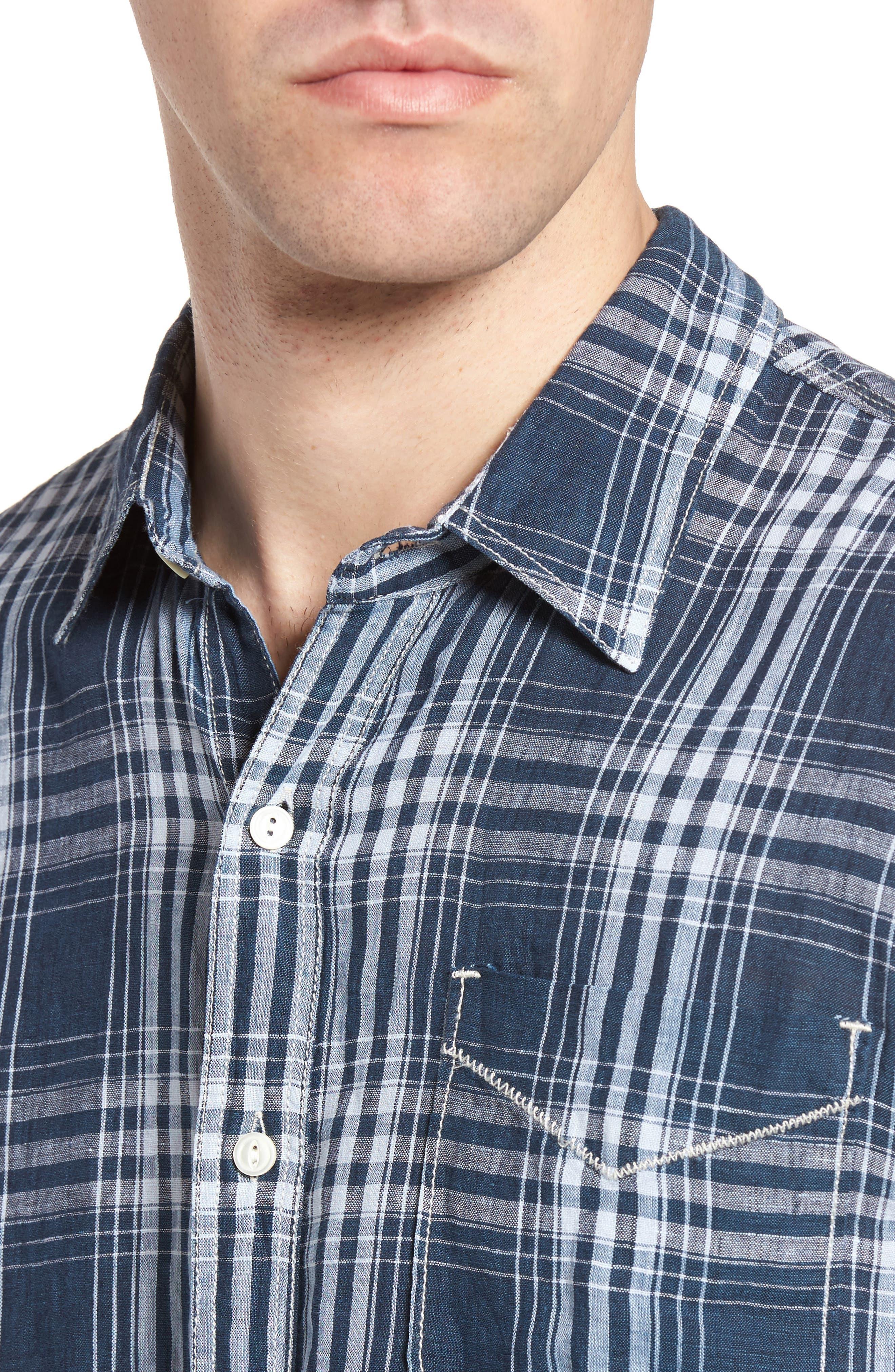 Indigo Plaid Sport Shirt,                             Alternate thumbnail 4, color,                             405