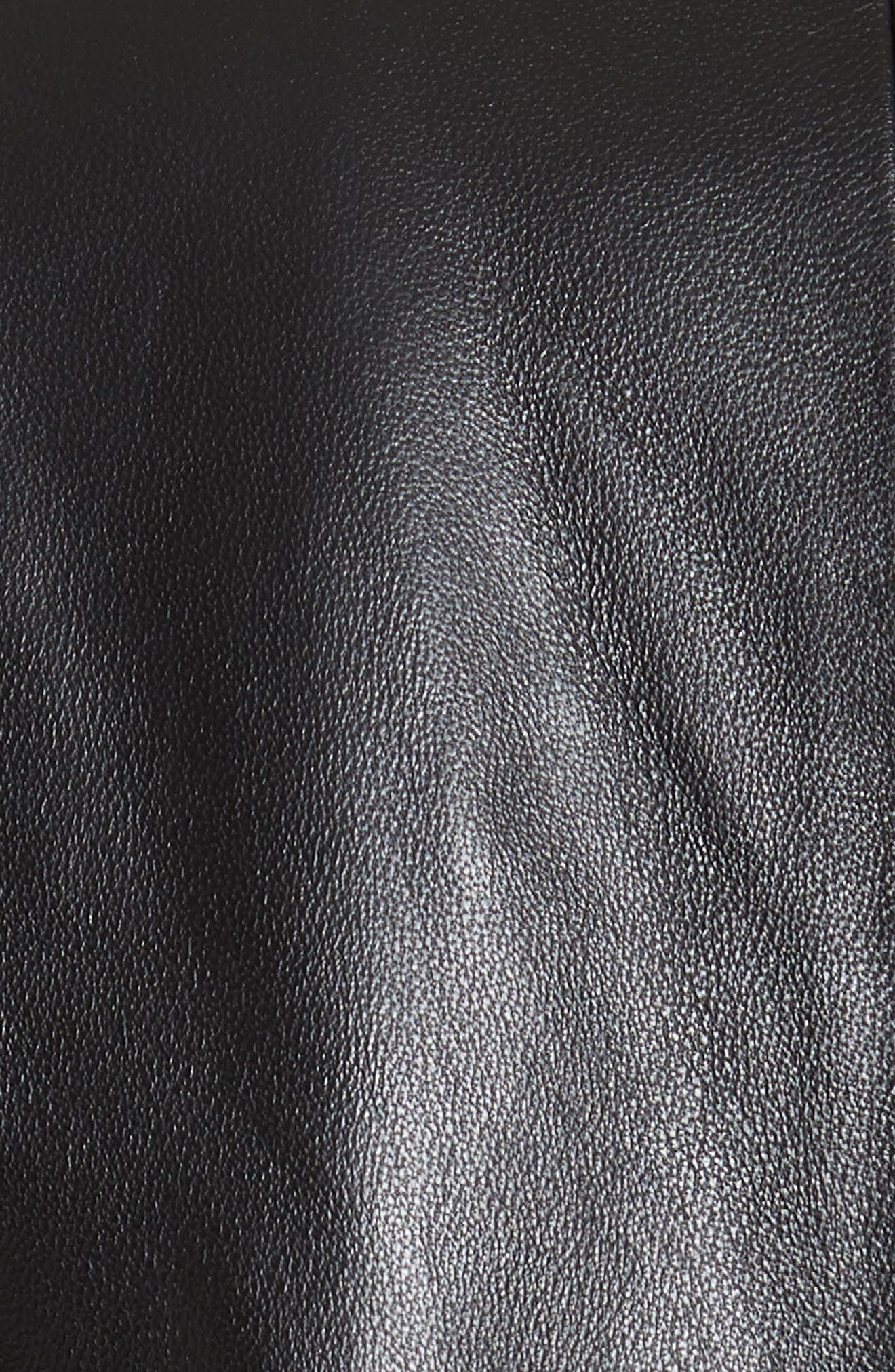Schoolboy Leather Blazer,                             Alternate thumbnail 6, color,                             NOIR