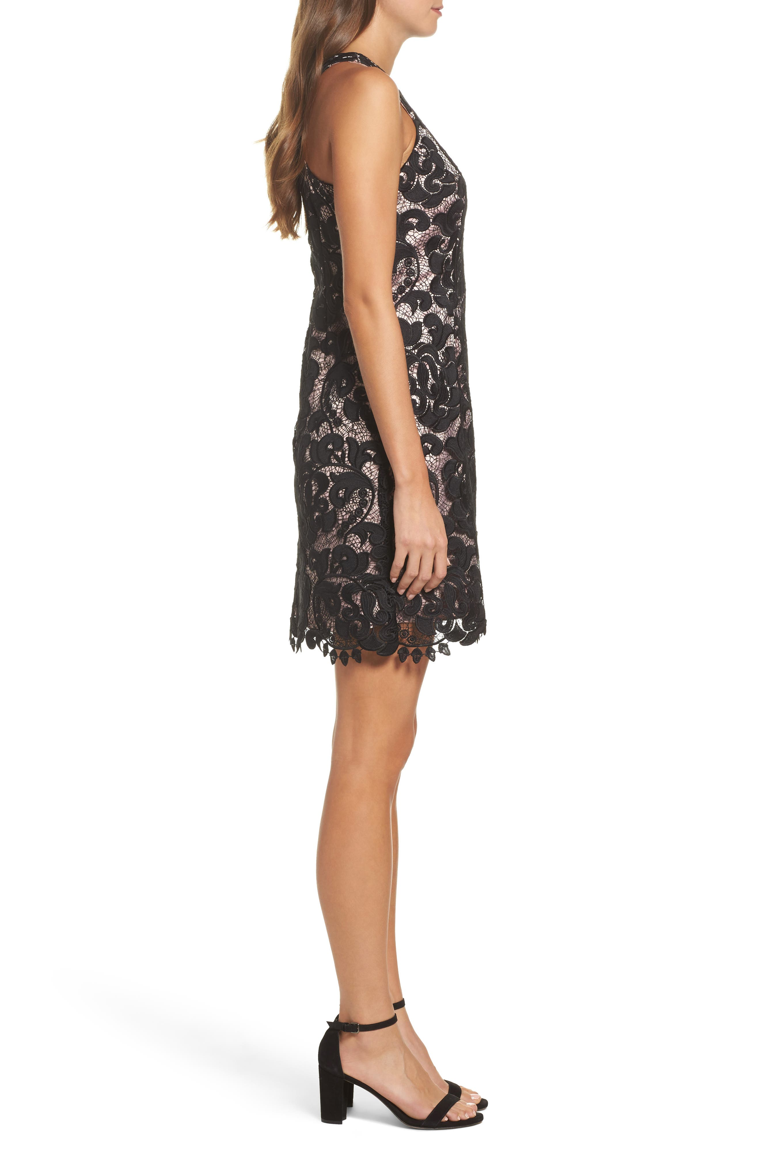 Lace Sheath Dress,                             Alternate thumbnail 3, color,                             001