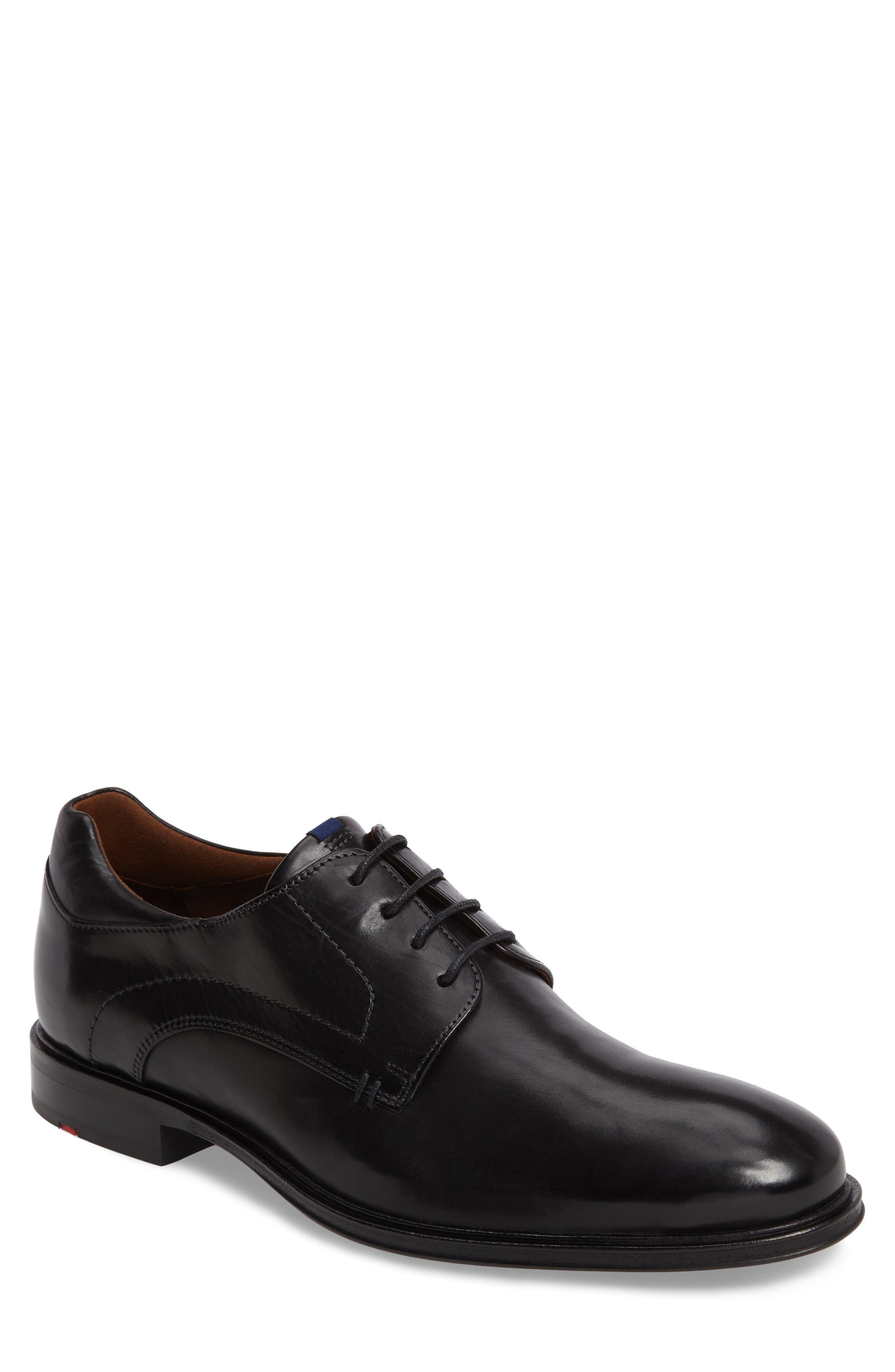 Milan Plain Toe Derby,                         Main,                         color, BLACK LEATHER