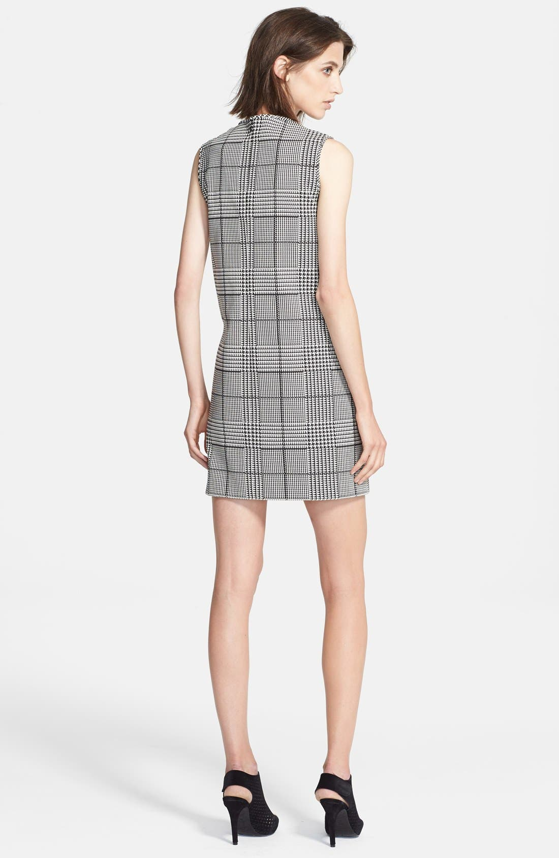 'Adraya' Houndstooth Cotton Blend Shift Dress,                             Alternate thumbnail 3, color,                             020