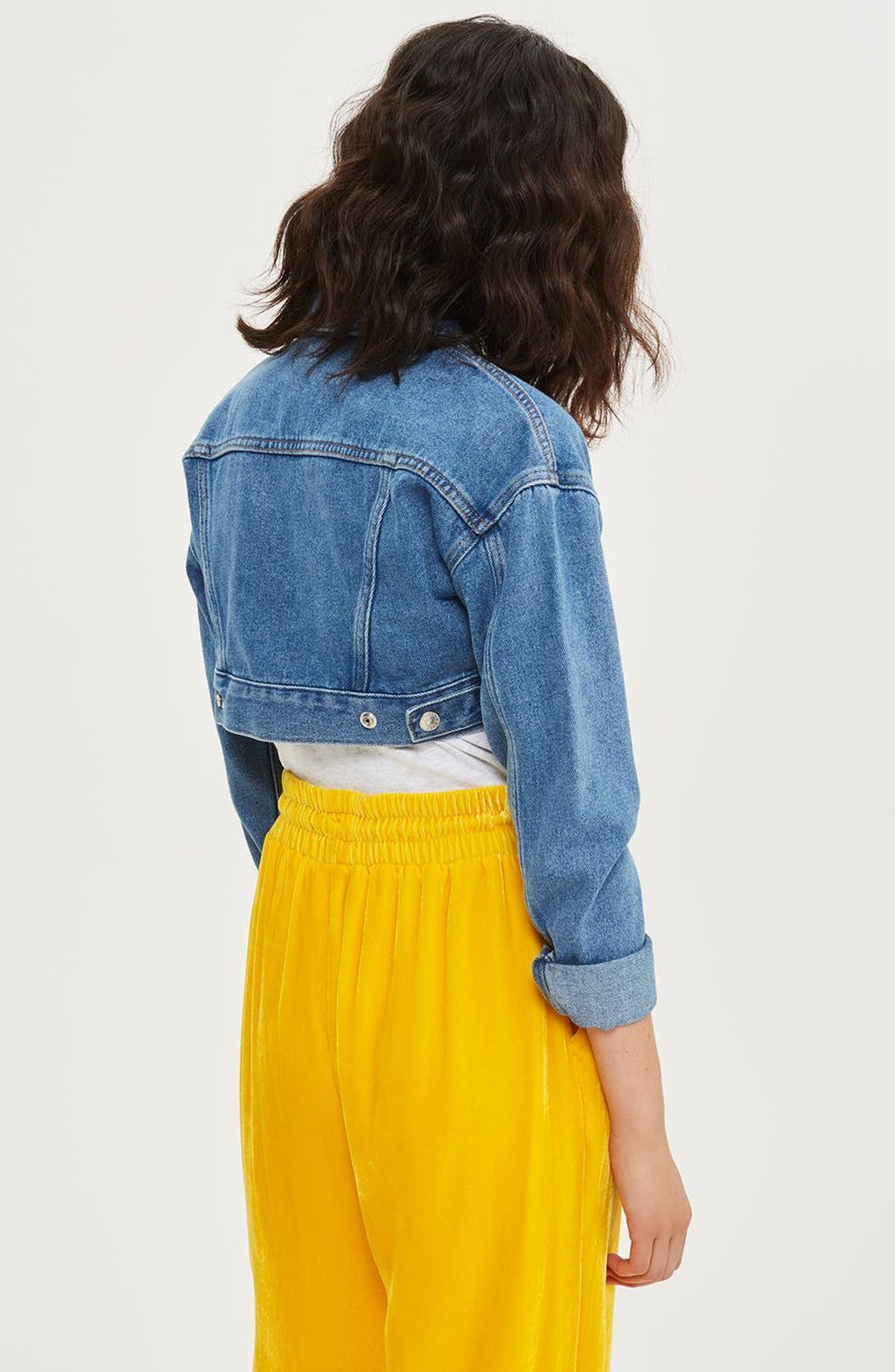 Shrunken Crop Denim Jacket,                             Alternate thumbnail 4, color,                             400