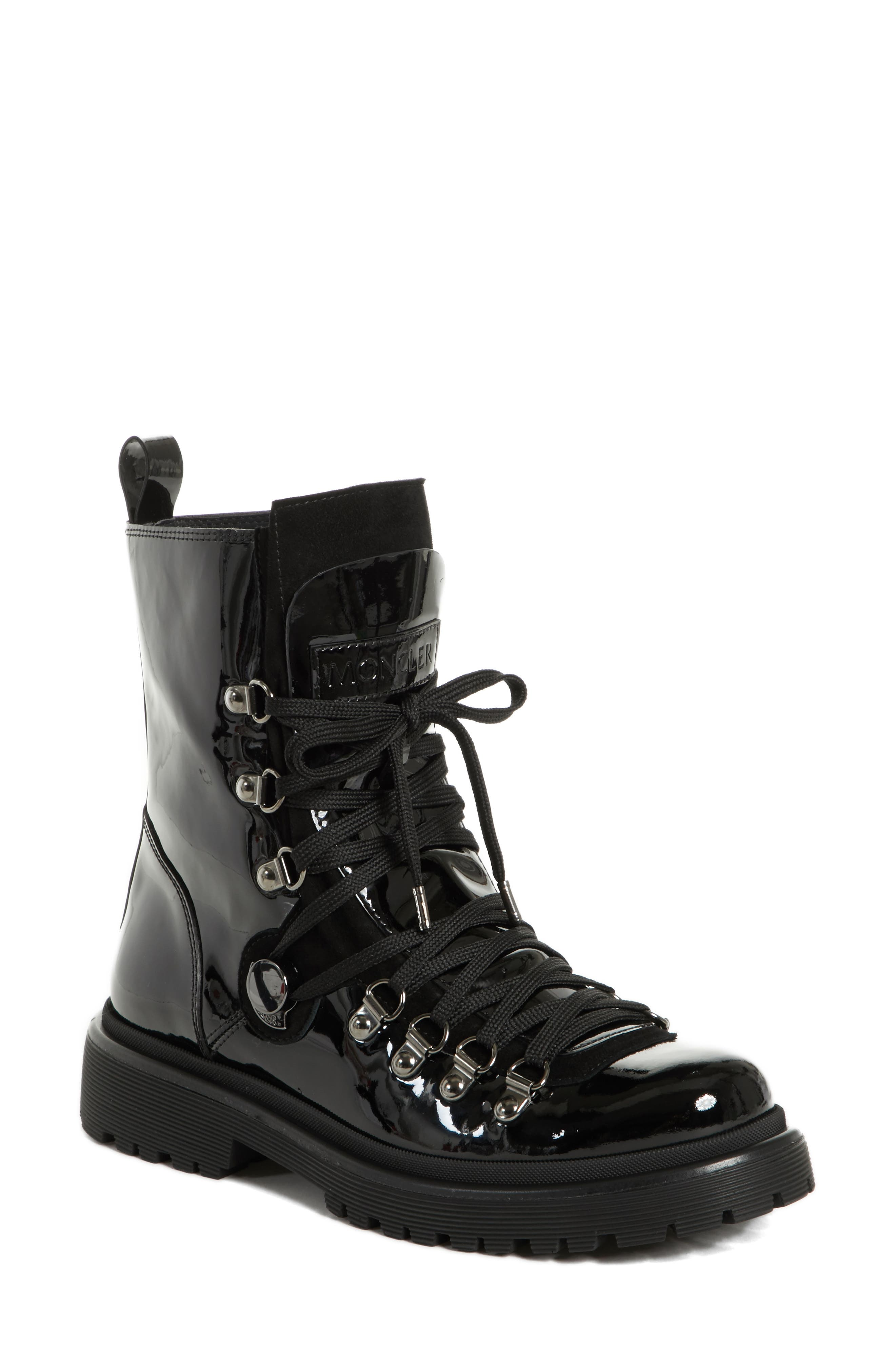 MONCLER,                             Berenice Stivale Lace-Up Boot,                             Main thumbnail 1, color,                             BLACK PATENT