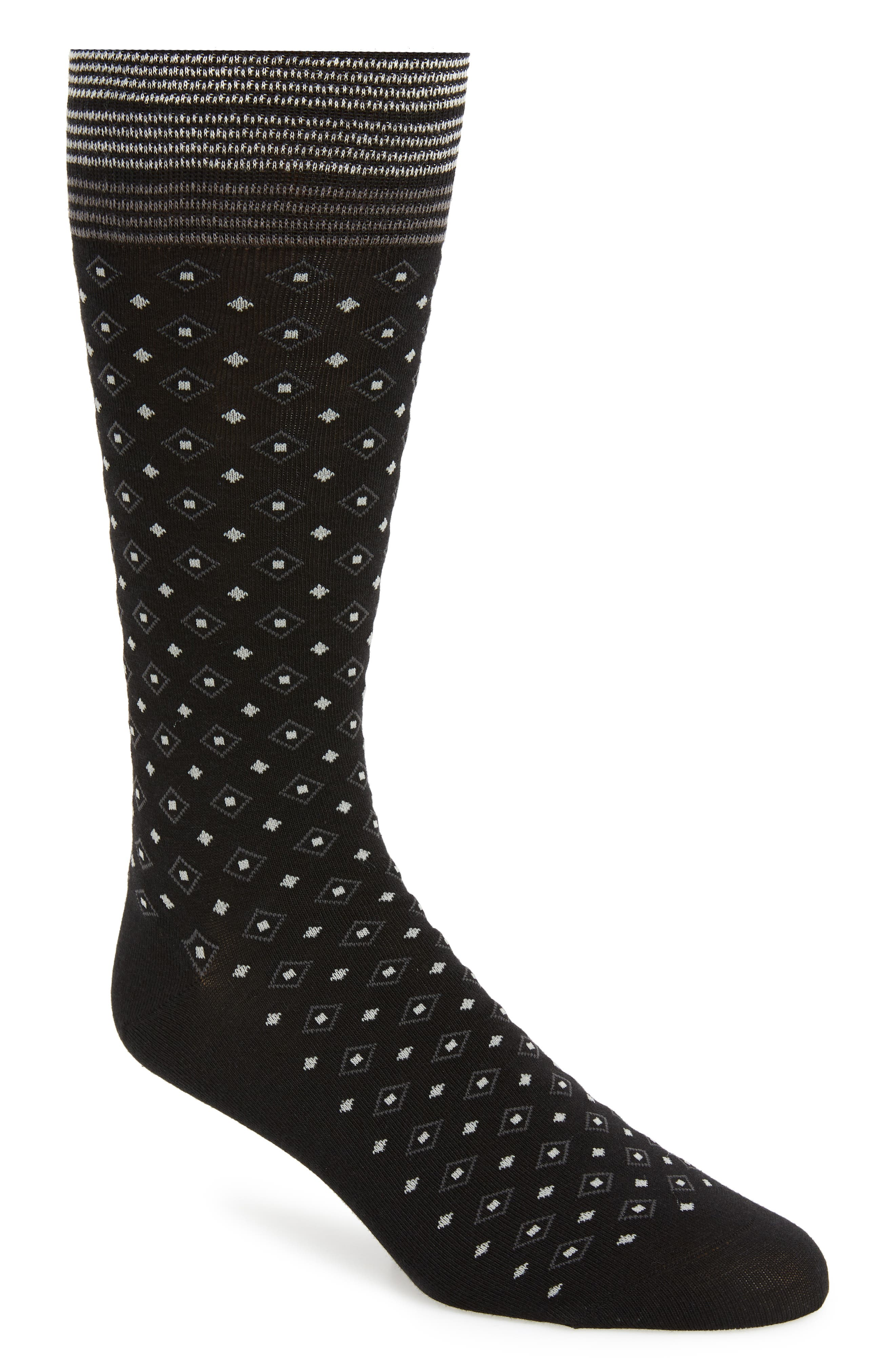 Foulard Geometric Socks,                             Main thumbnail 1, color,                             BLACK