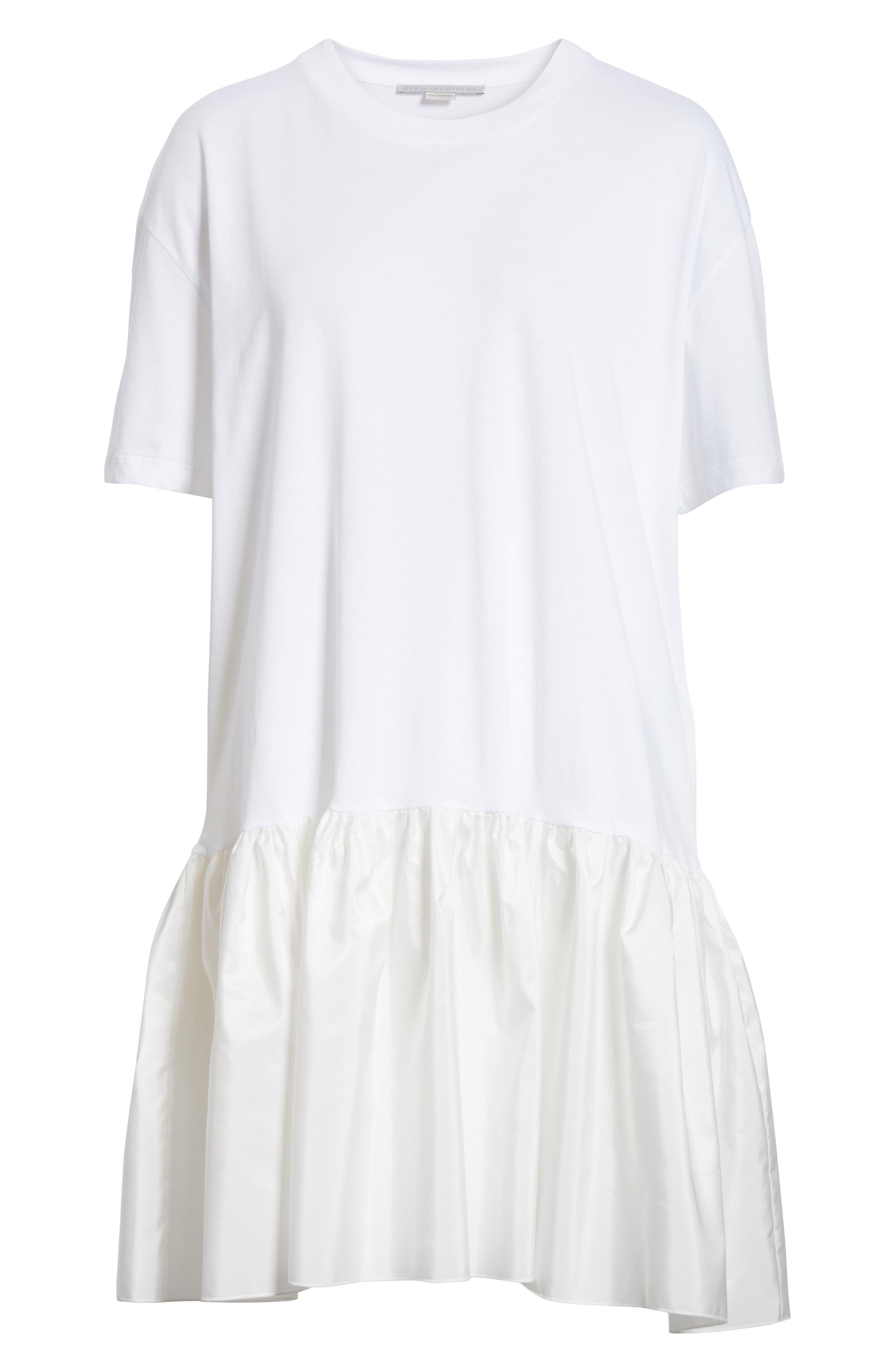 Drop Waist Taffeta Hem T-Shirt Dress,                             Alternate thumbnail 6, color,                             100