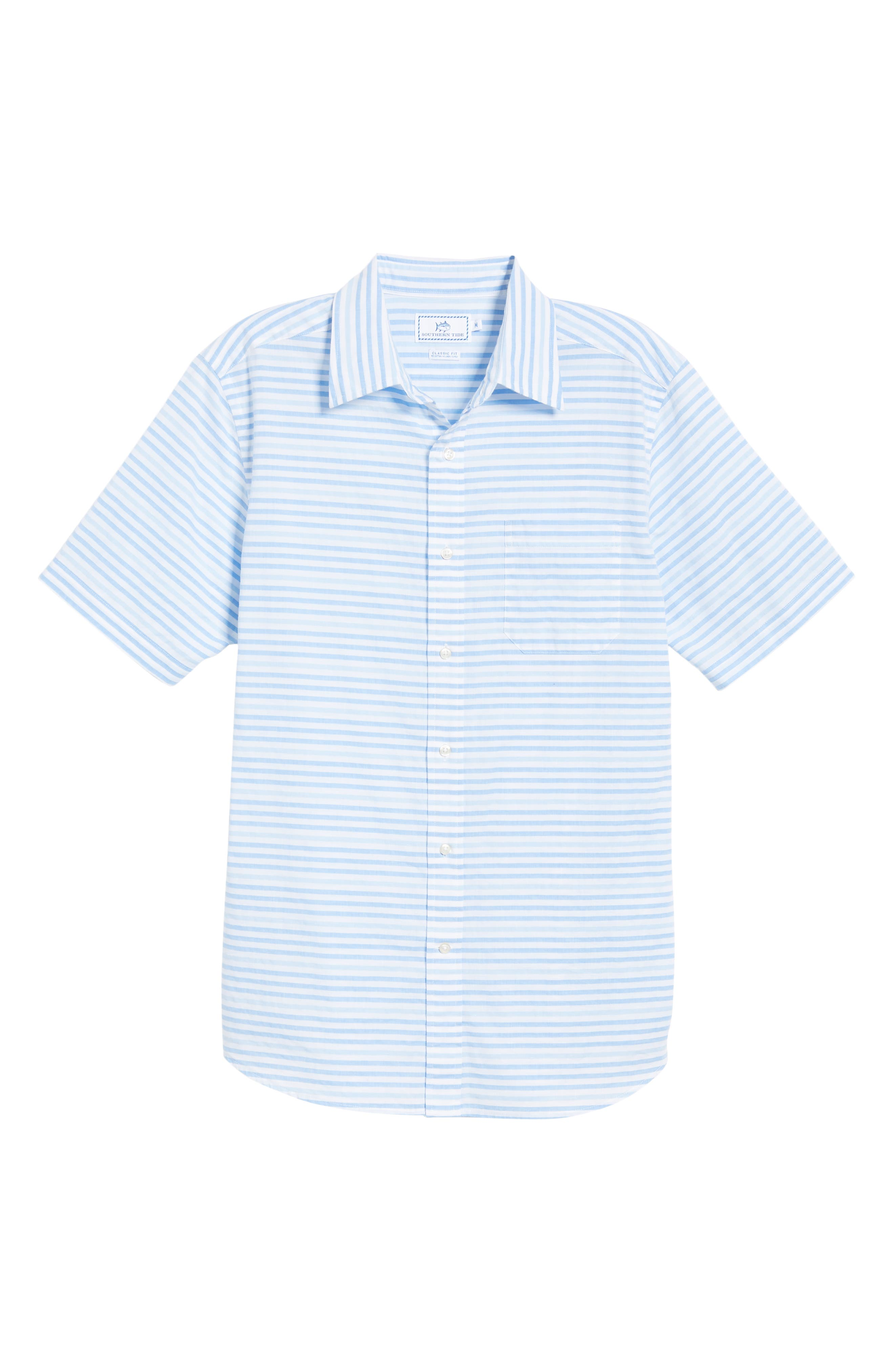 Ocean View Regular Fit Stripe Sport Shirt,                             Alternate thumbnail 5, color,                             MARINA