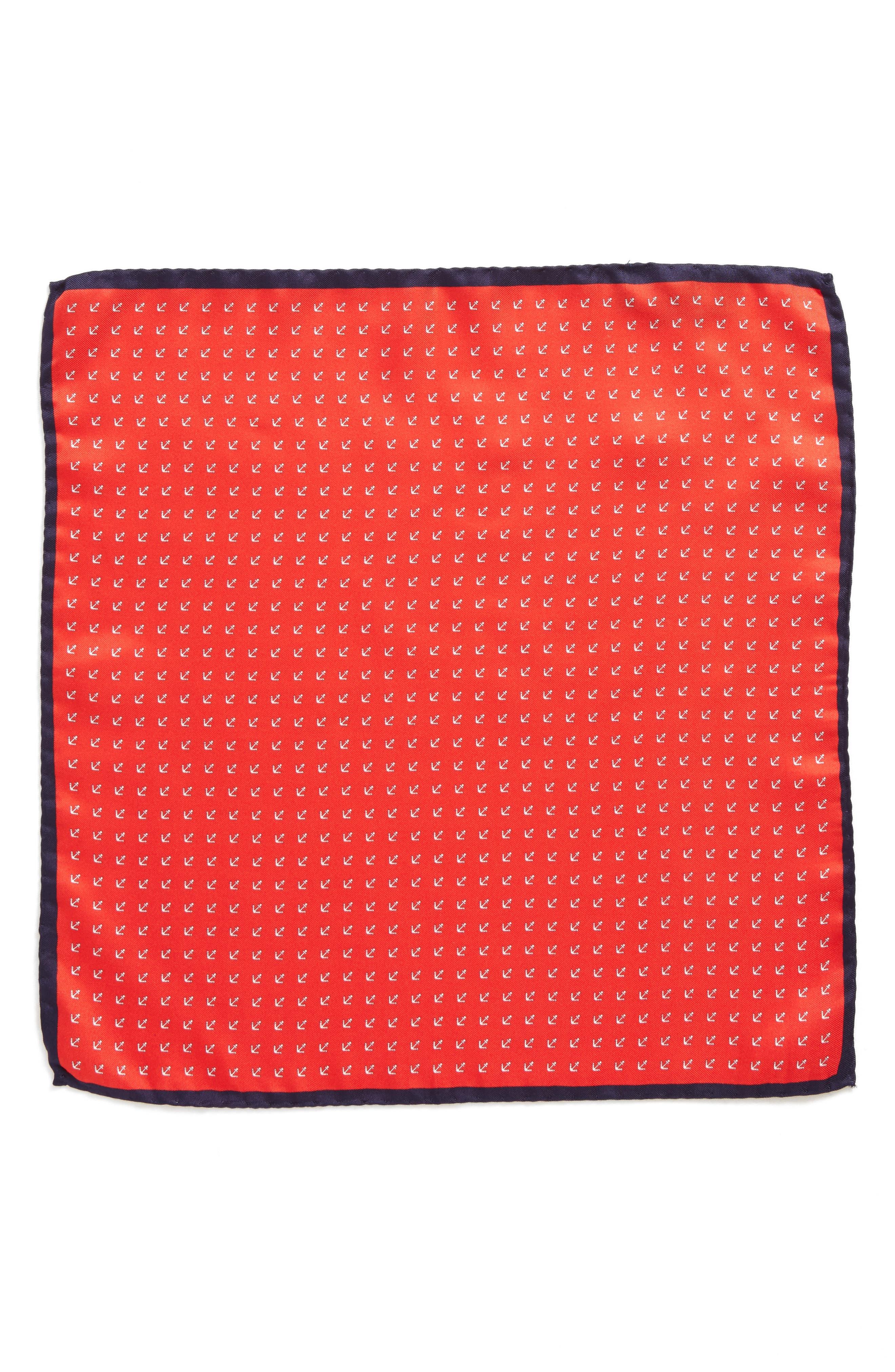 Anchorman Silk Pocket Square,                             Alternate thumbnail 2, color,                             NAVY/ RED