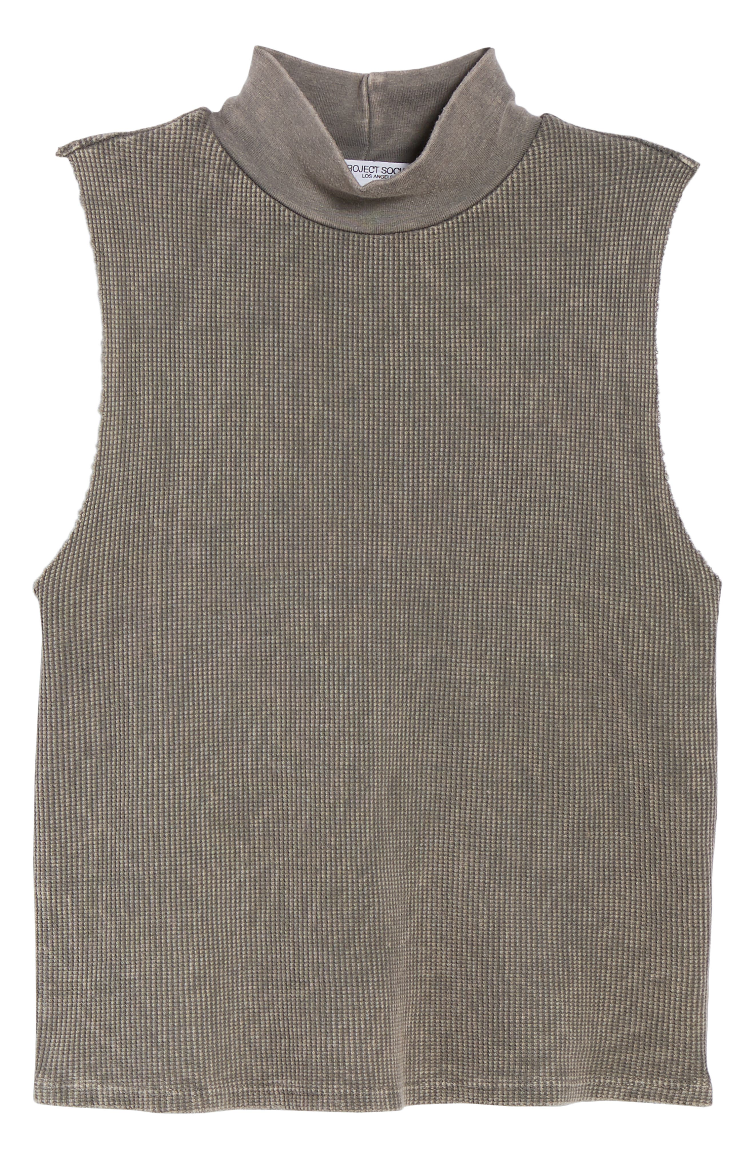 Annie Thermal Sleeveless Mock Neck Top,                             Alternate thumbnail 6, color,                             MW SMOKY NOIR