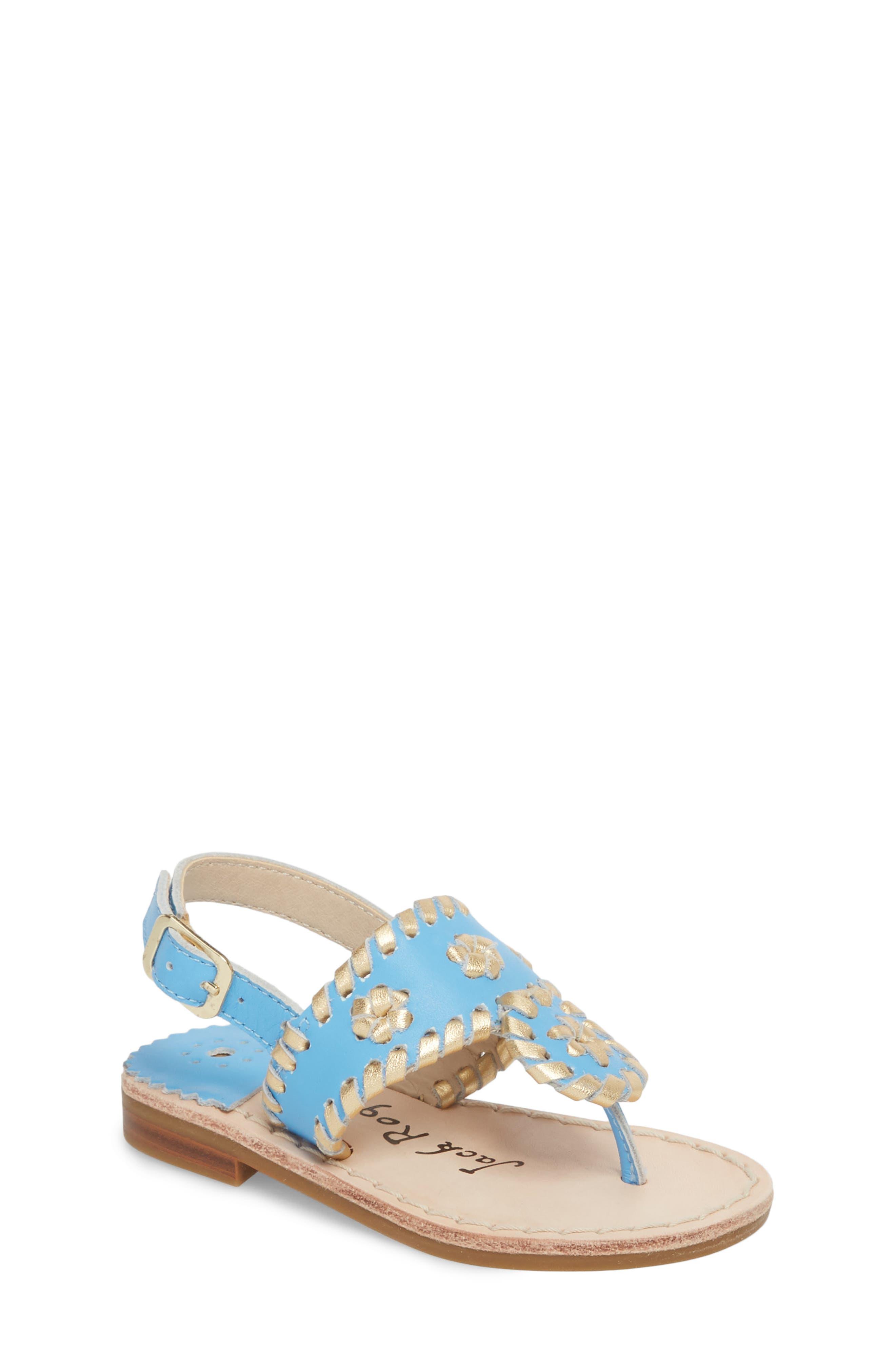 Little Miss Hollis Metallic Trim Sandal,                         Main,                         color, FRENCH BLUE/ GOLD LEATHER