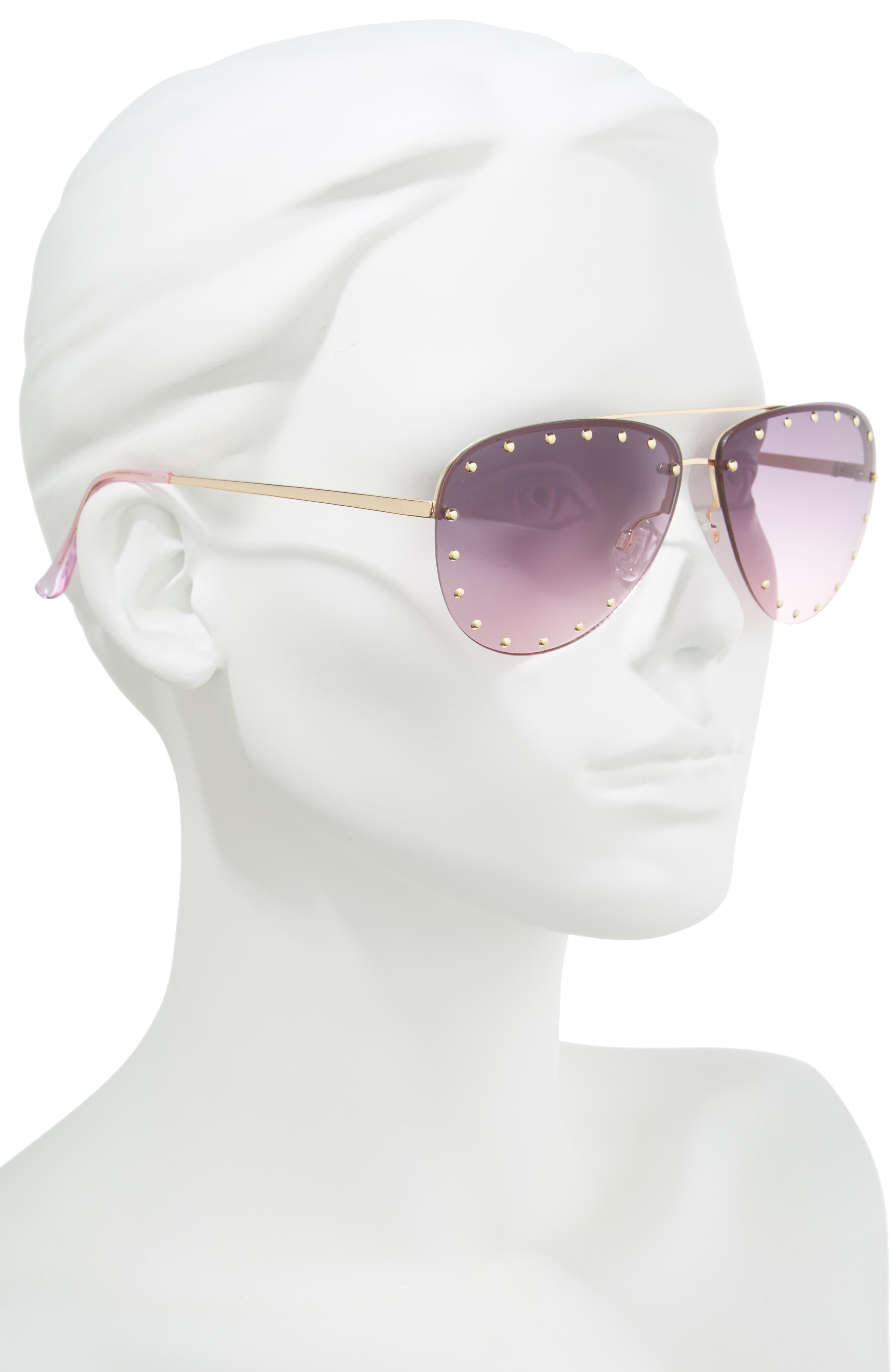 63mm Studded Aviator Sunglasses,                             Alternate thumbnail 4, color,