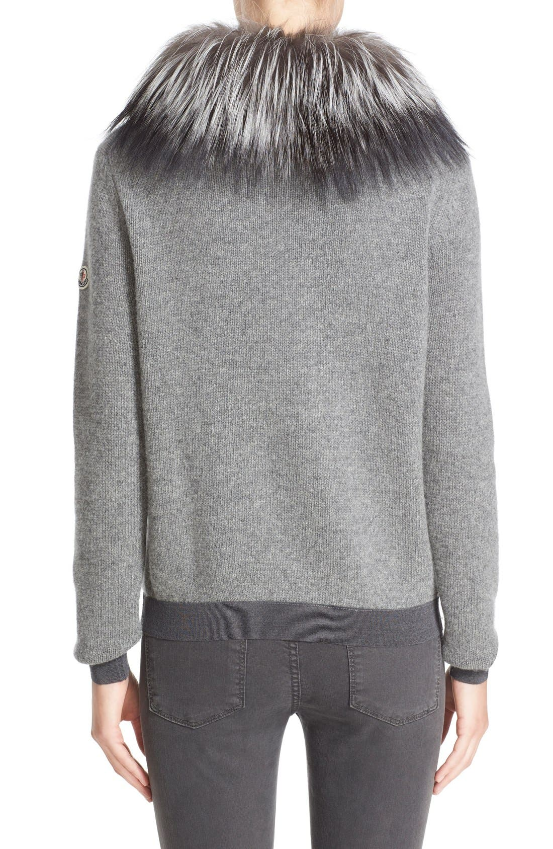 Wool & Cashmere Sweater with Removable Genuine Fox Fur Collar,                             Alternate thumbnail 3, color,                             031