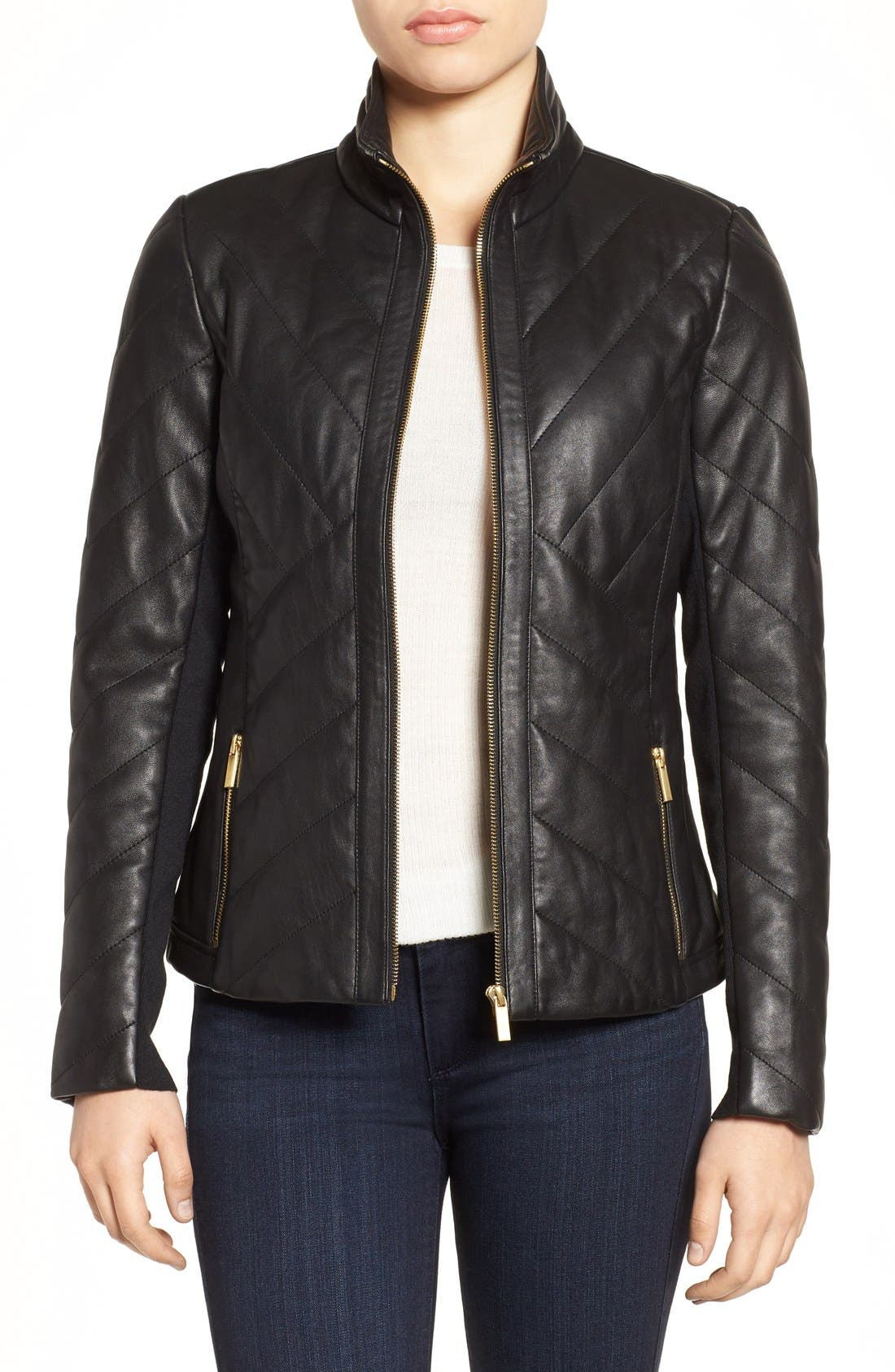 Badgley Mischka Eloise Quilted Leather Moto Jacket, Main, color, 001