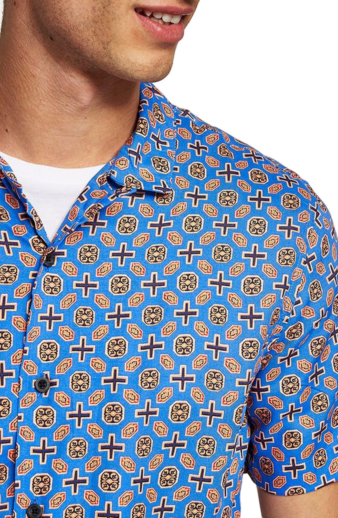 Classic Fit Geo Print Woven Shirt,                             Alternate thumbnail 3, color,                             BLUE MULTI
