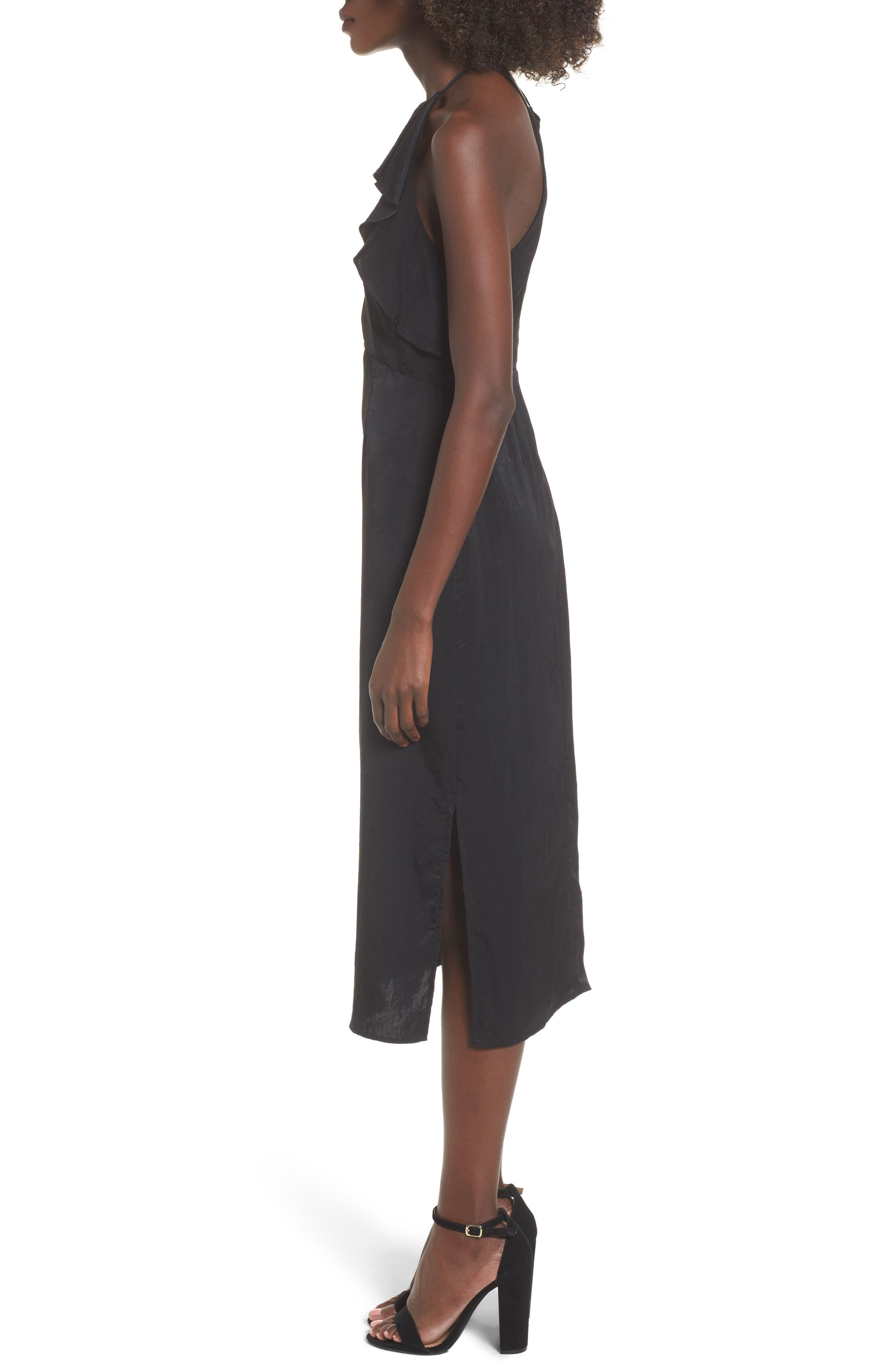 Ruffle Neck Satin Midi Dress,                             Alternate thumbnail 3, color,                             001