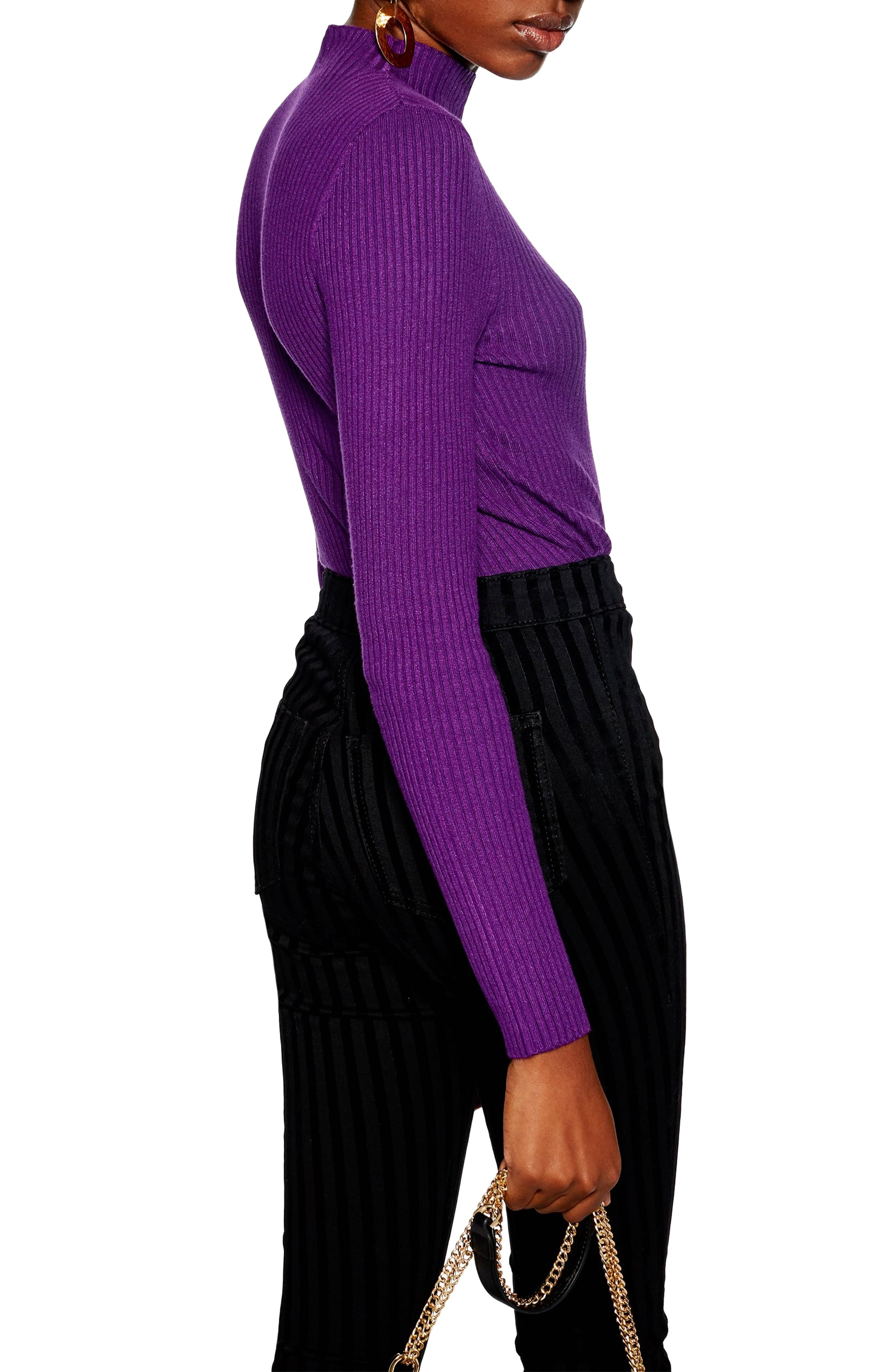 Side Button Rib Sweater,                             Alternate thumbnail 2, color,                             PURPLE