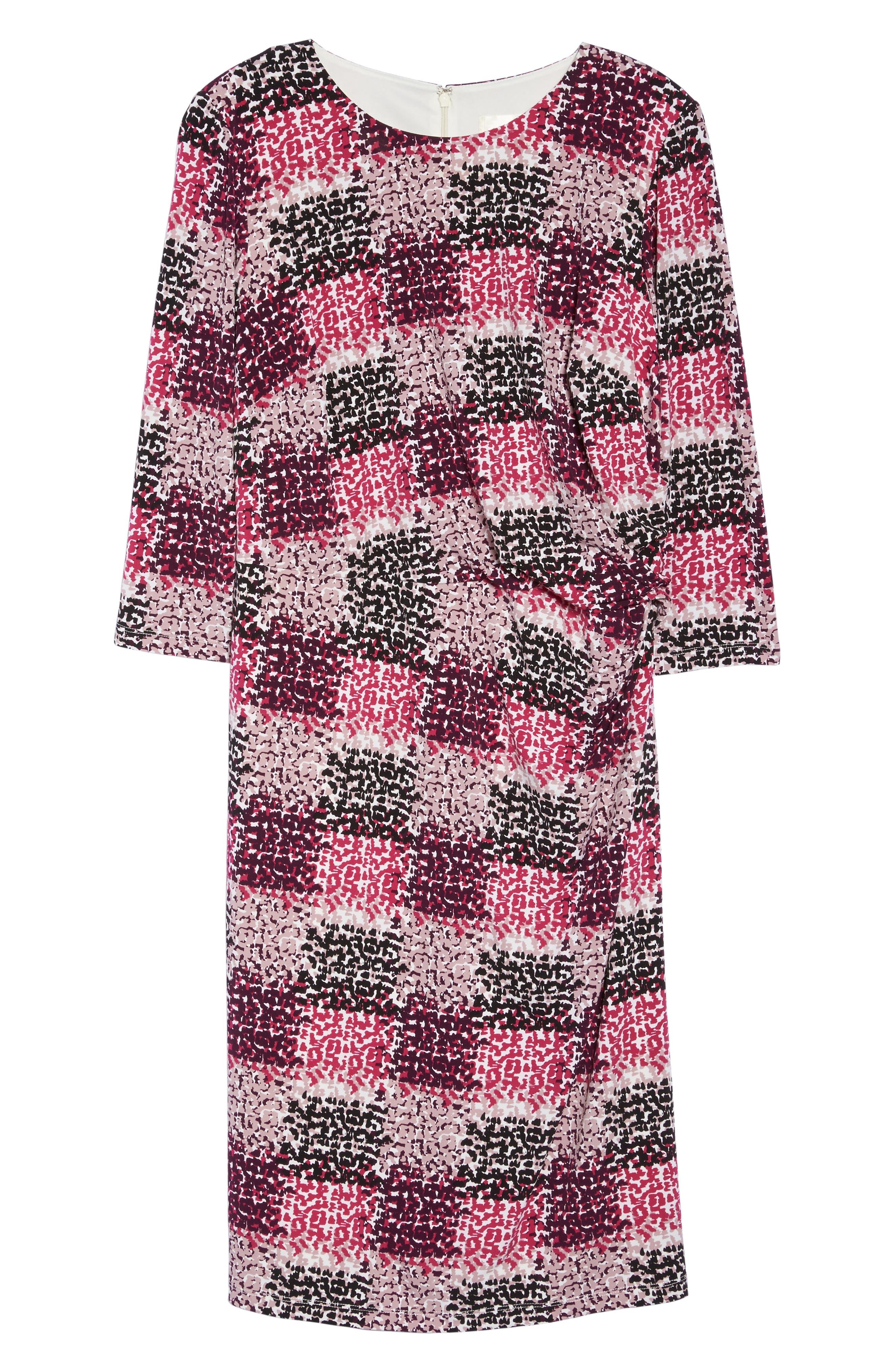 Print Jersey Side Tuck Sheath Dress,                             Alternate thumbnail 6, color,                             465