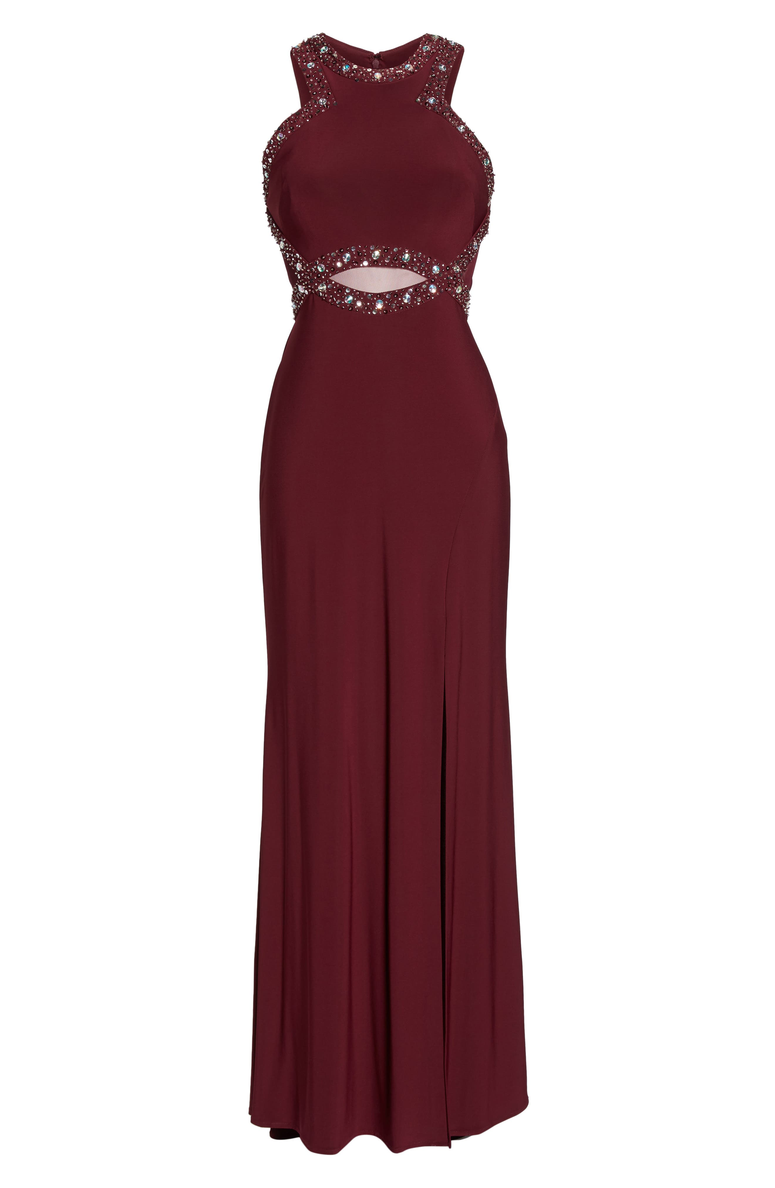 Embellished Illusion Gown,                             Alternate thumbnail 6, color,                             MERLOT