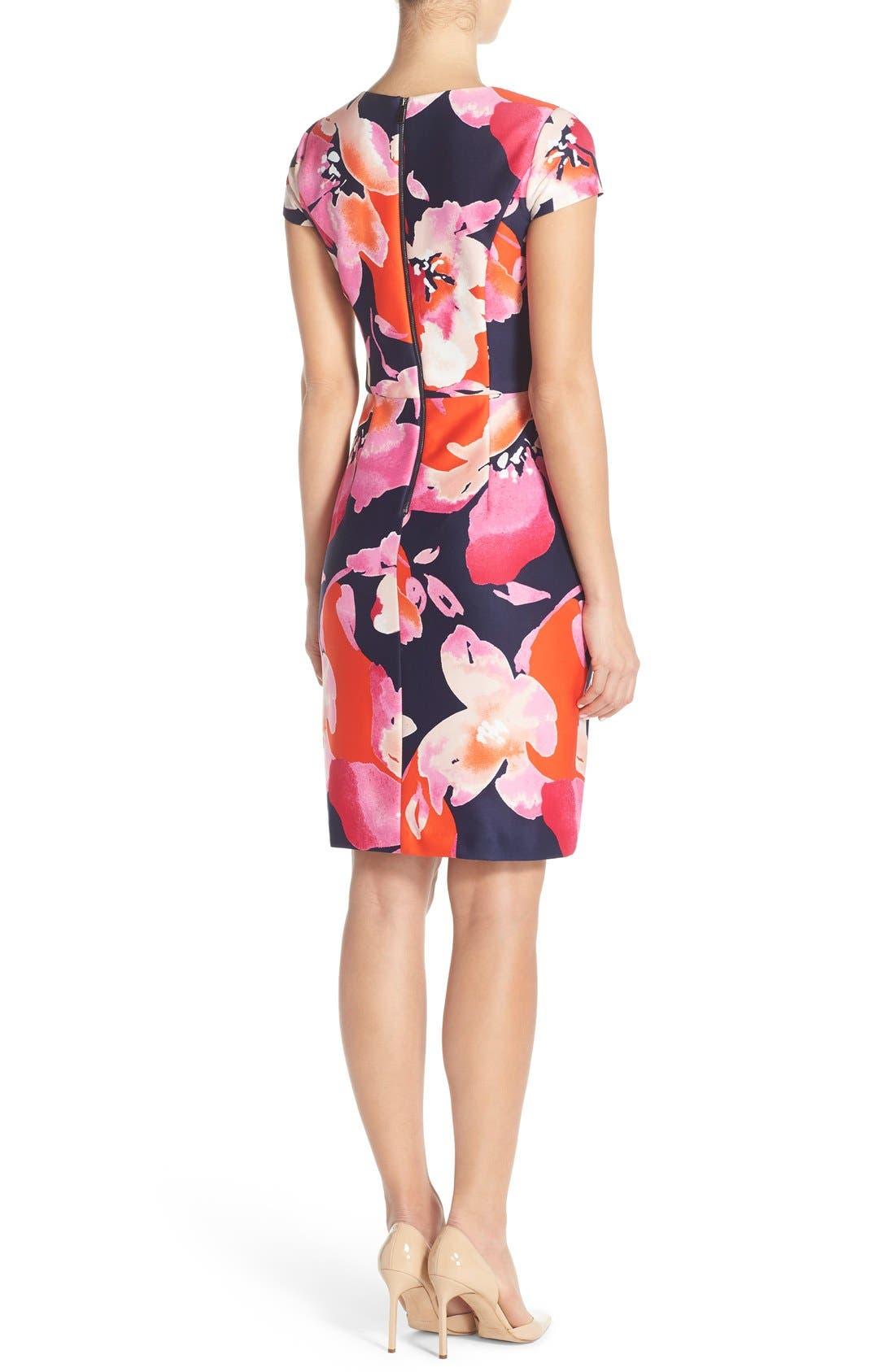 Floral Scuba Sheath Dress,                             Alternate thumbnail 3, color,                             650