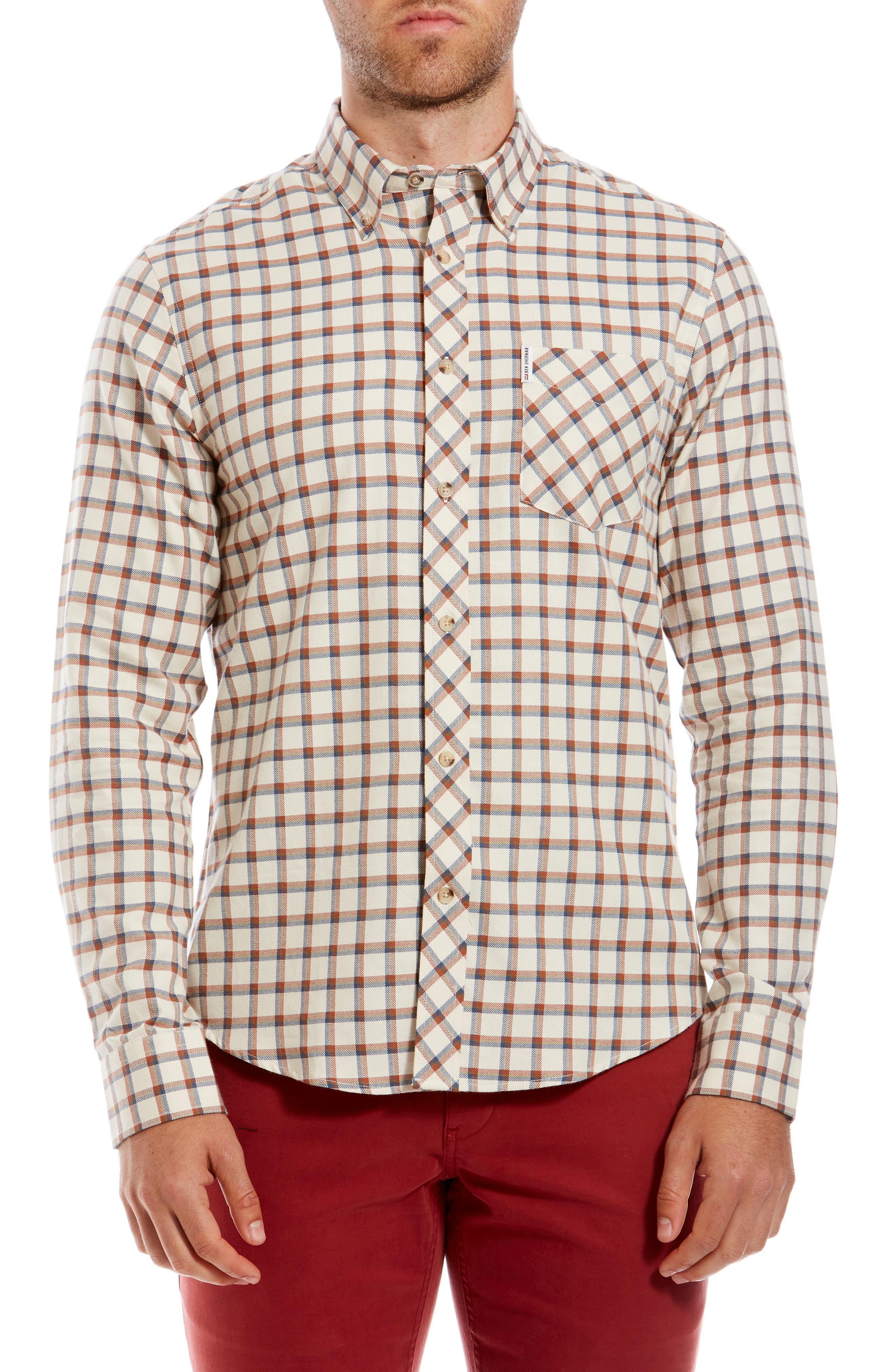 1960s Men's Clothing, 70s Men's Fashion Mens Ben Sherman Reverse Twill Trim Fit Check Sport Shirt $79.00 AT vintagedancer.com