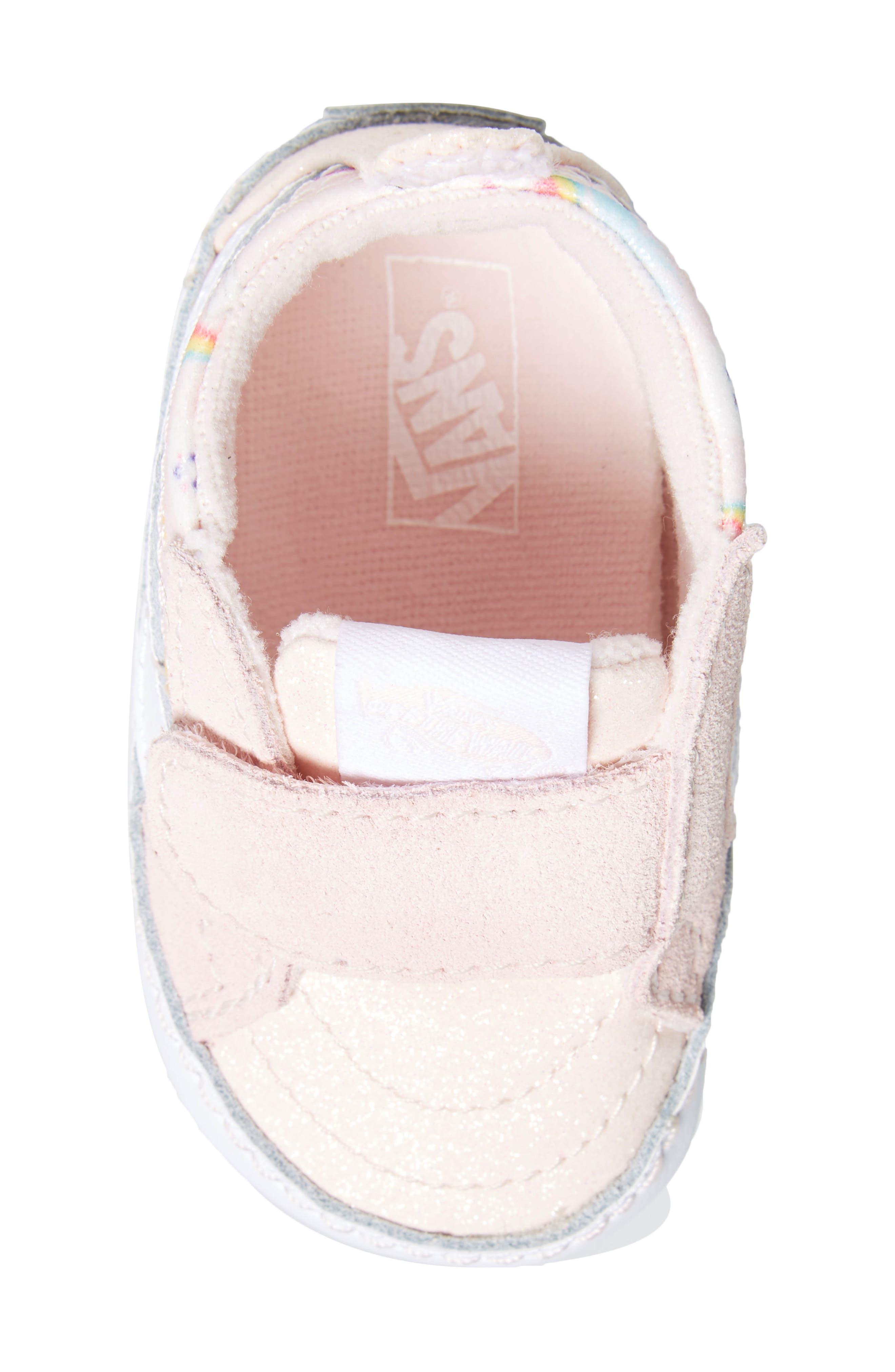 'SK8-Hi' Crib Sneaker,                             Alternate thumbnail 5, color,                             GLITTER PEGASUS PINK/ WHITE