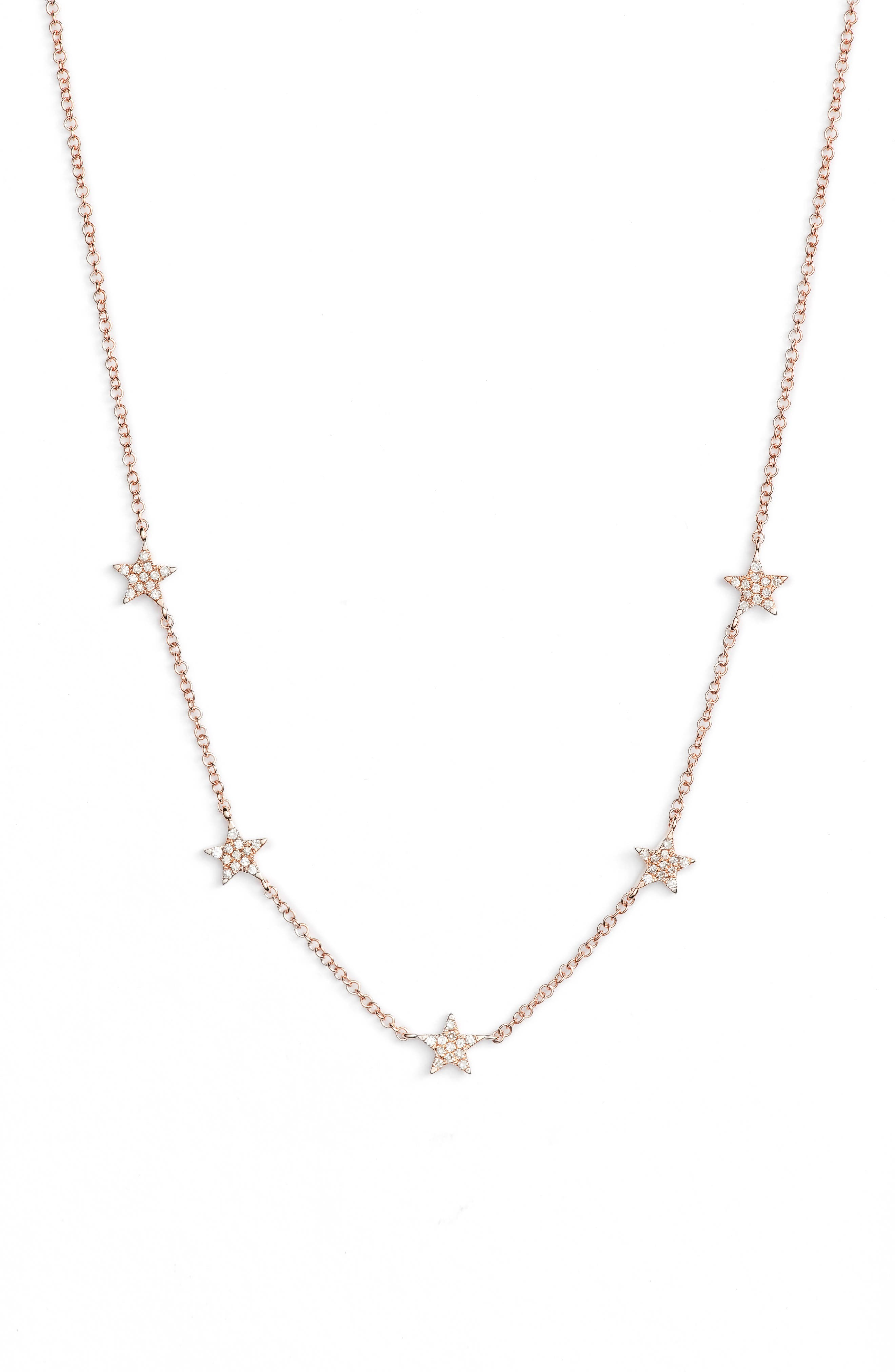 Five-Star Diamond Station Necklace,                             Main thumbnail 1, color,                             ROSE GOLD