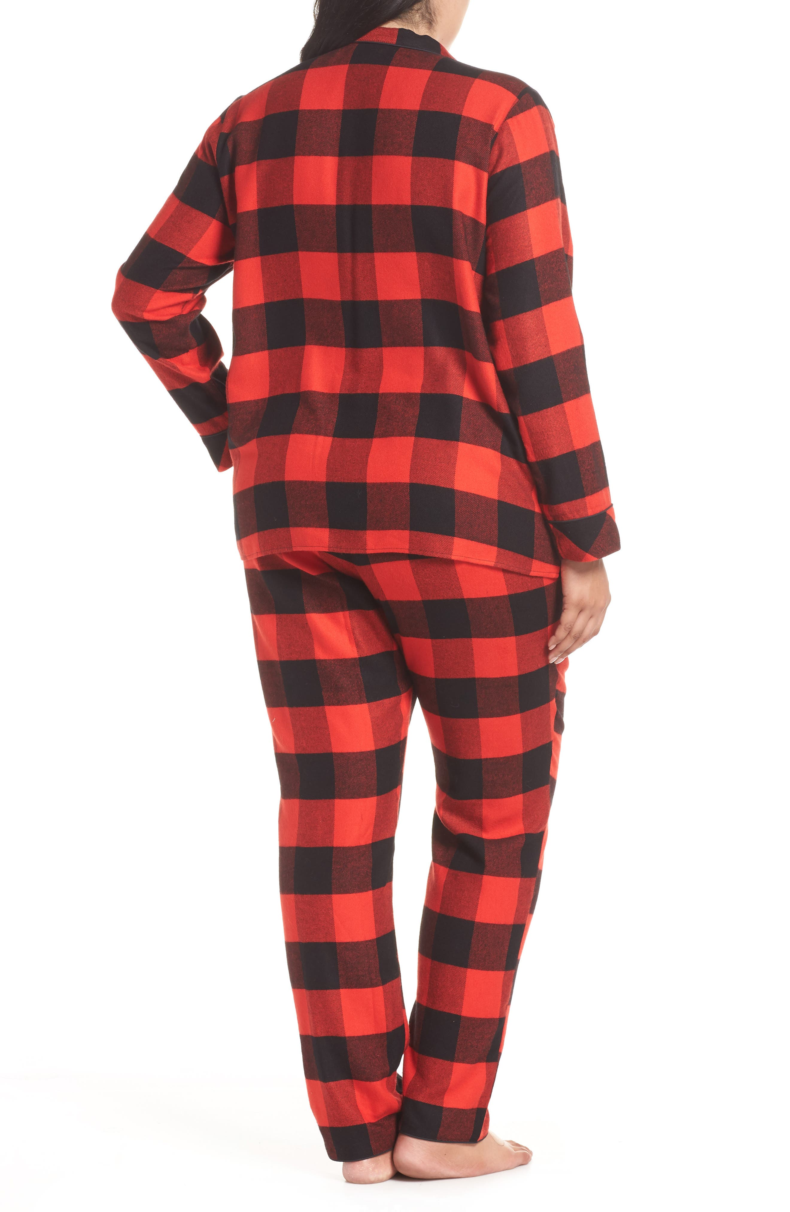 Starlight Plaid Flannel Pajamas,                             Alternate thumbnail 2, color,                             RED BLOOM LARGE BUFFALO CHECK