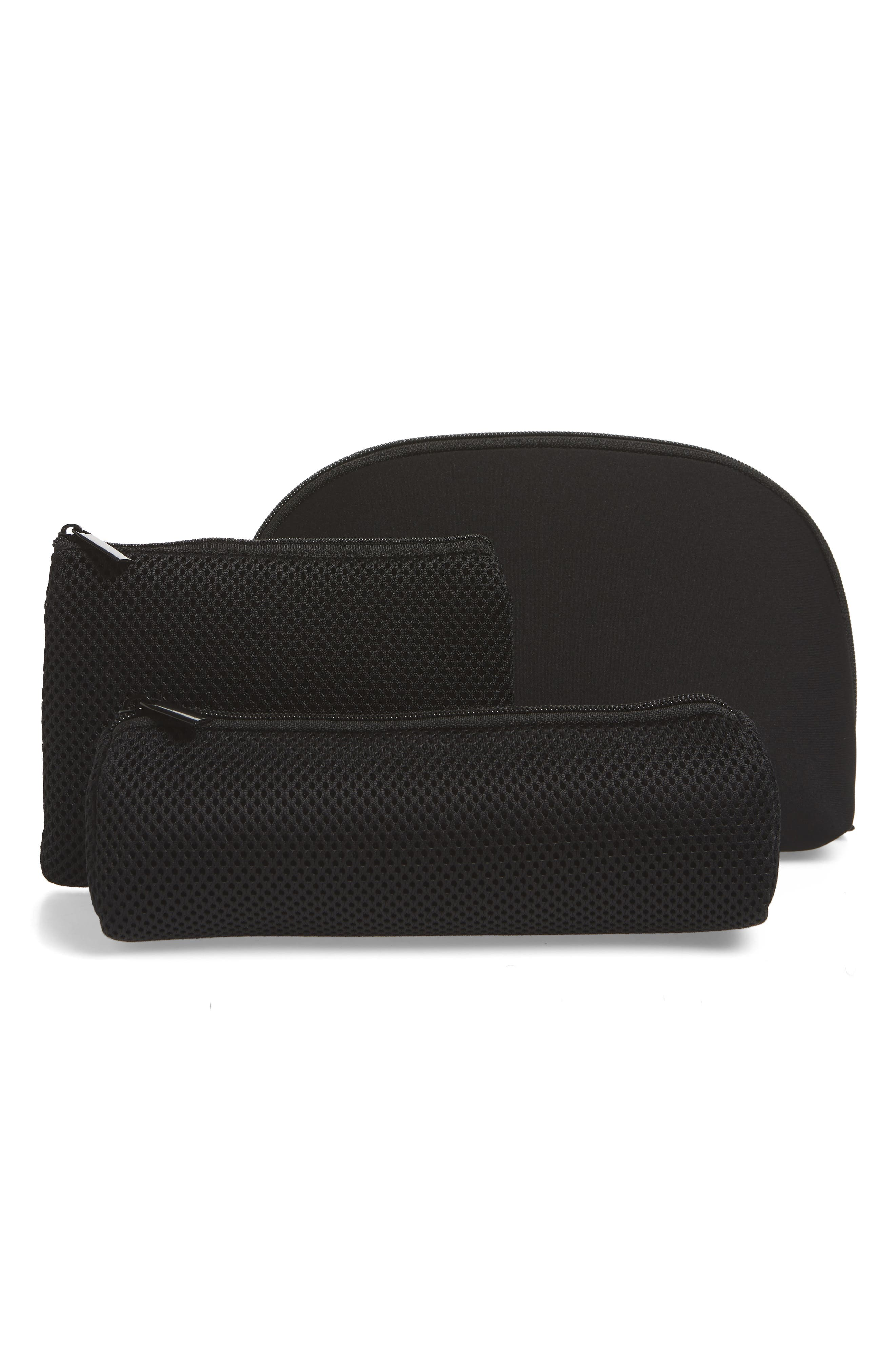 Curved Cosmetic Bag,                             Alternate thumbnail 2, color,                             BLACK