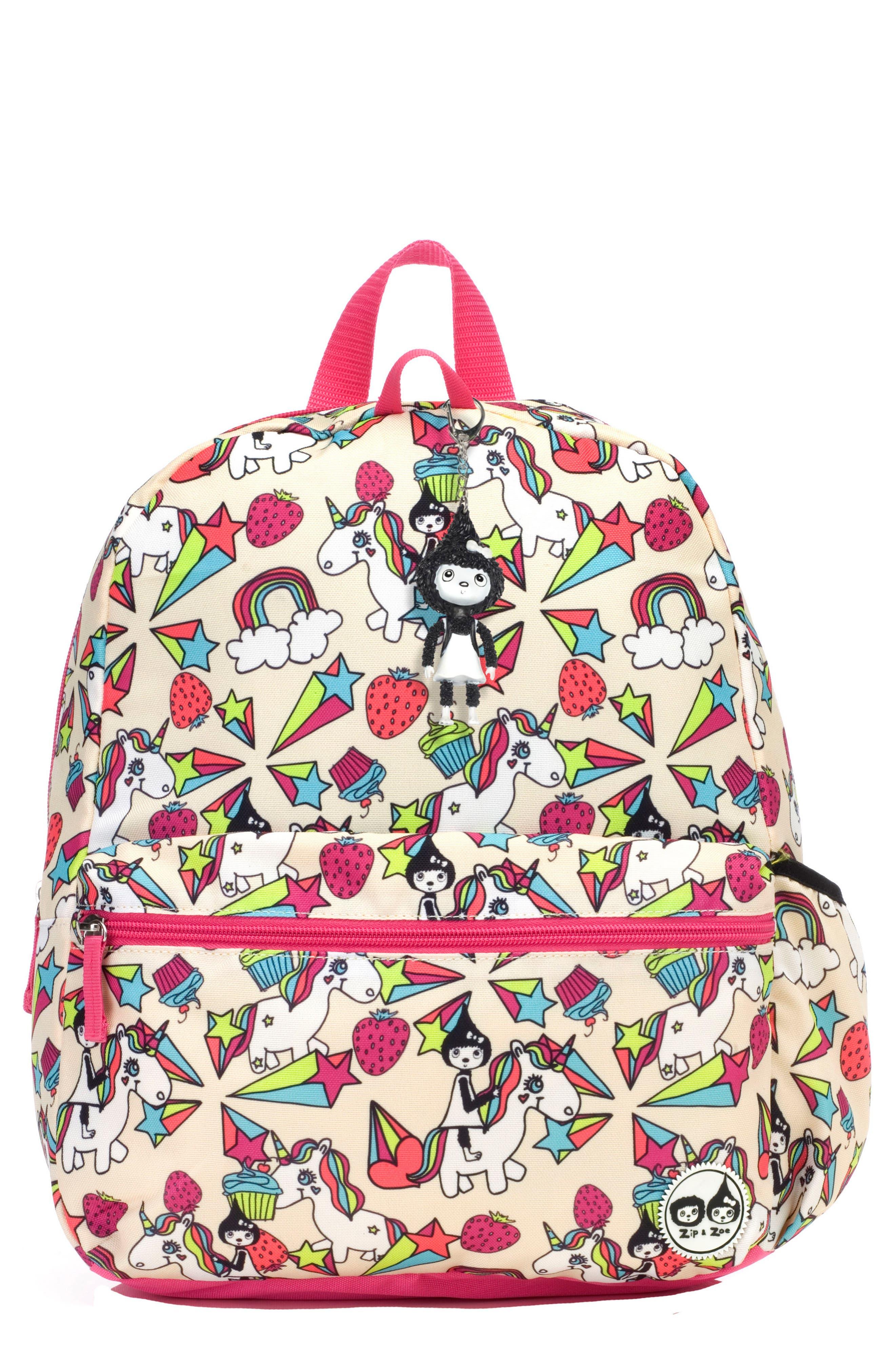 Zip & Zoe Unicorn Junior Backpack,                             Main thumbnail 1, color,                             WHITE