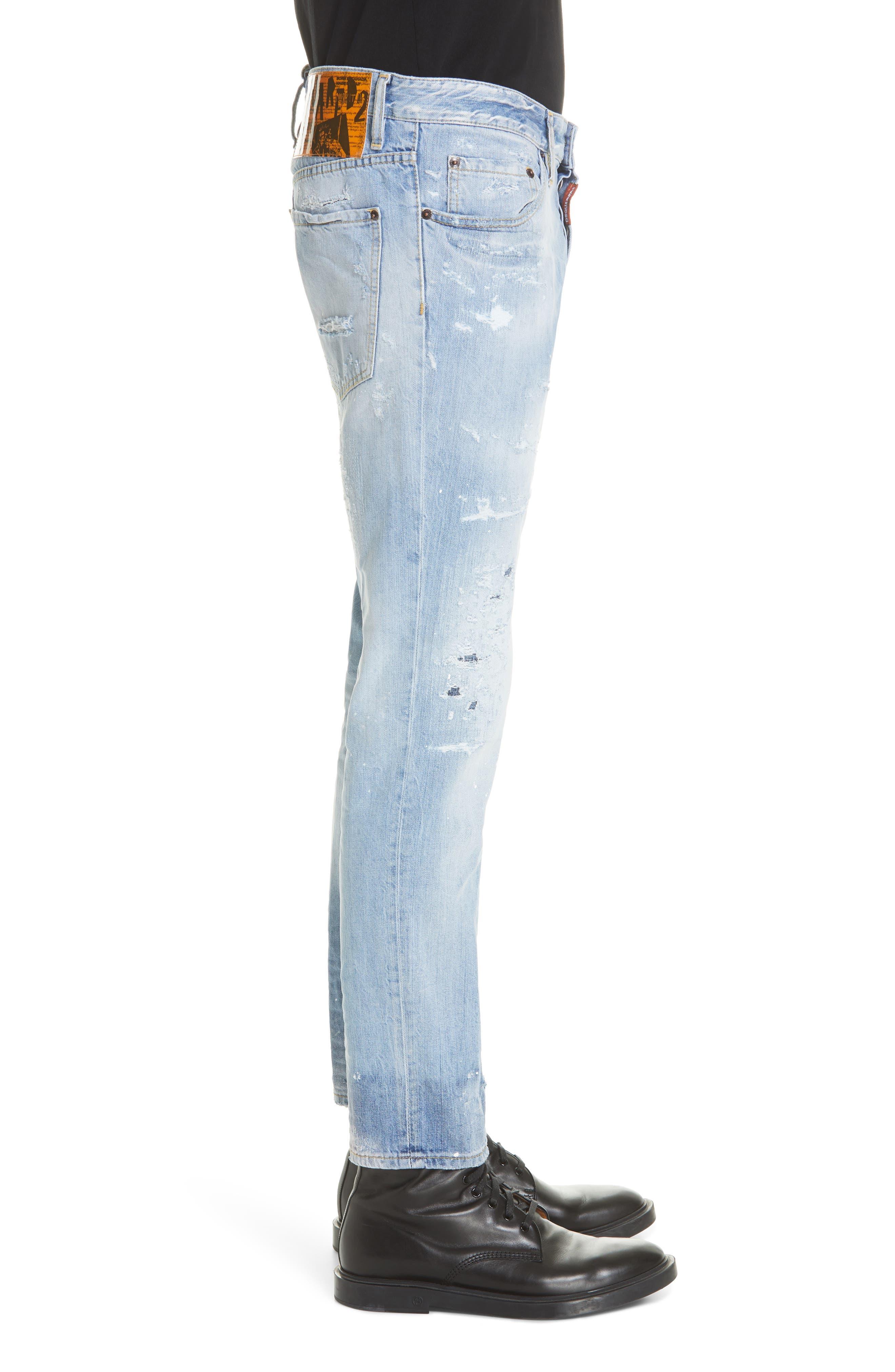 Light Wash Cigarette Fit Jeans,                             Alternate thumbnail 3, color,                             BLUE
