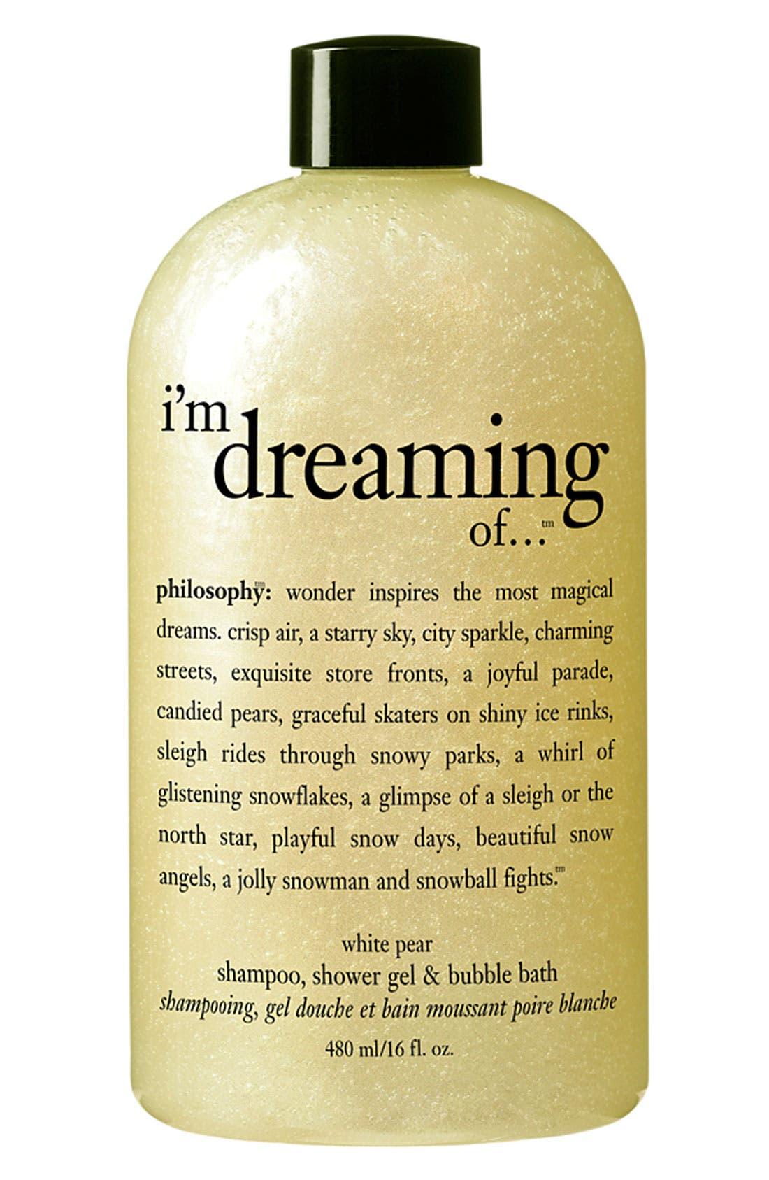 PHILOSOPHY 'i'm dreaming of…' white pear shampoo, shower gel & bubble bath, Main, color, 000