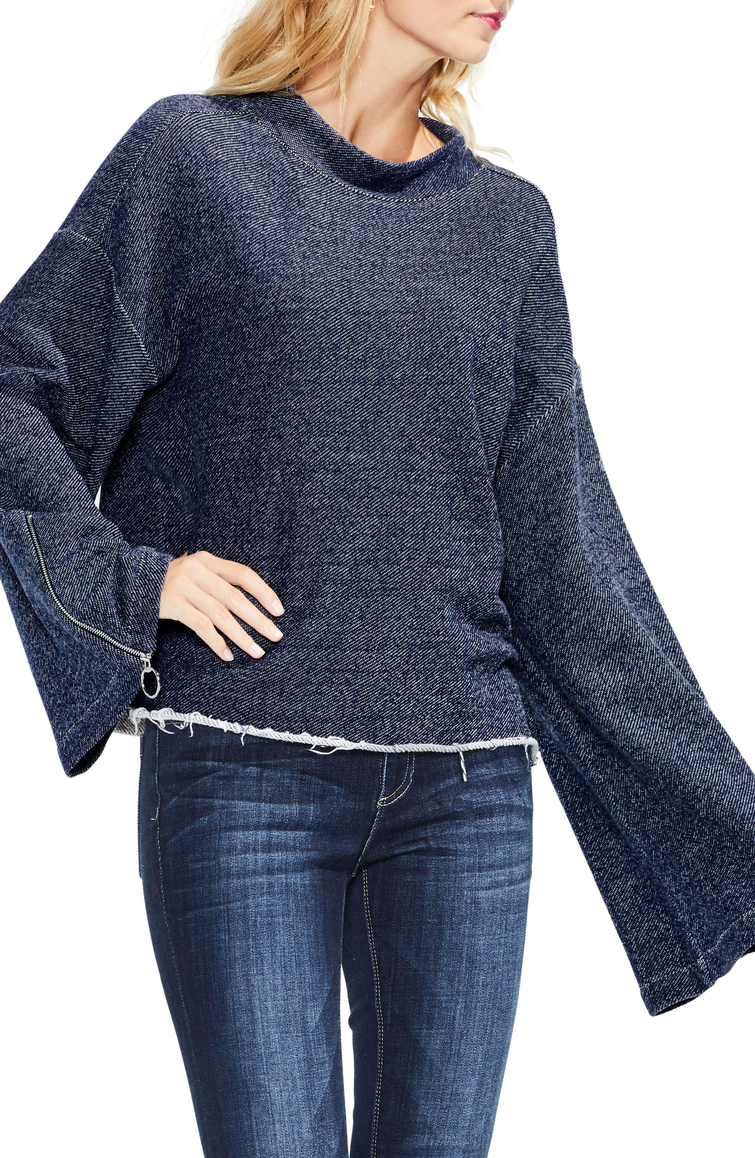 Zip Bell Sleeve Top,                             Main thumbnail 1, color,                             430